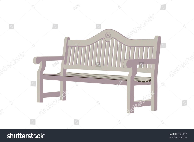 Drawing Wooden Park Bench Stock Vector 28258231 Shutterstock