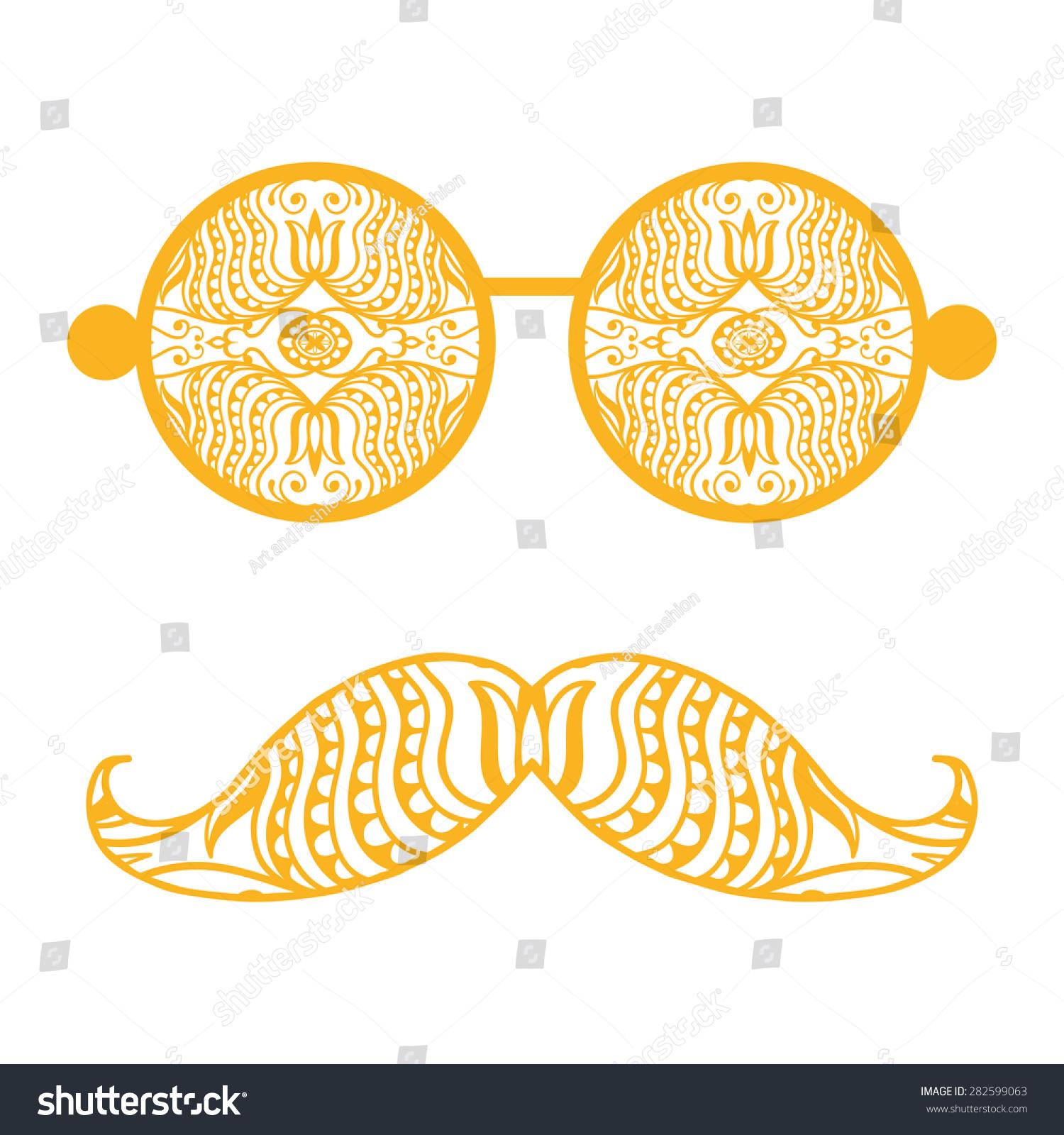 Design t shirt arabic - Retro Hipster Sunglasses With Ethnic Arabic Ornament Print For T Shirt Card Design