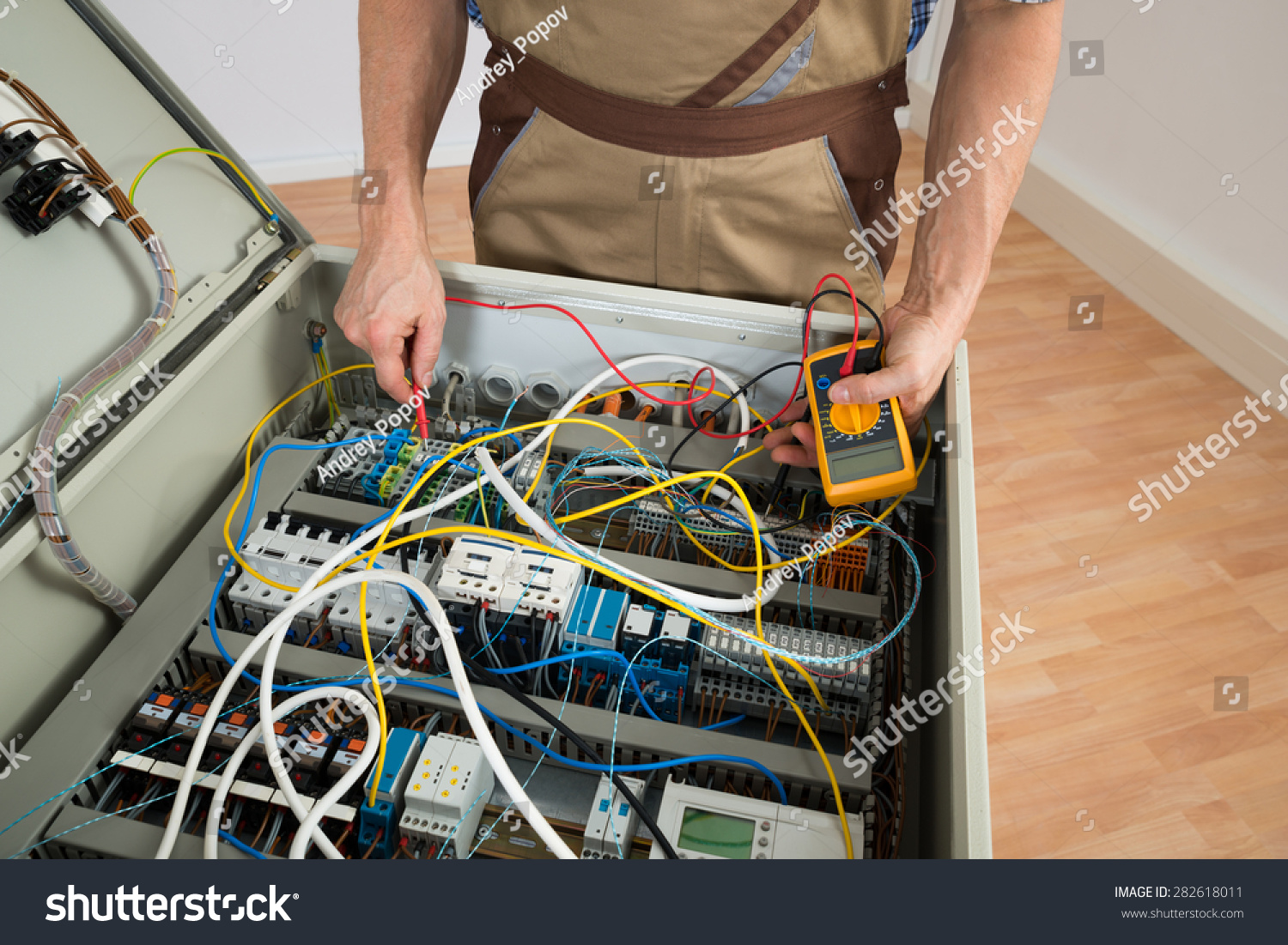 stock photo close up of a electrician checking fuse box with multimeter 282618011 how to check fuse box with multimeter efcaviation com how to check fuse box with multimeter at gsmx.co