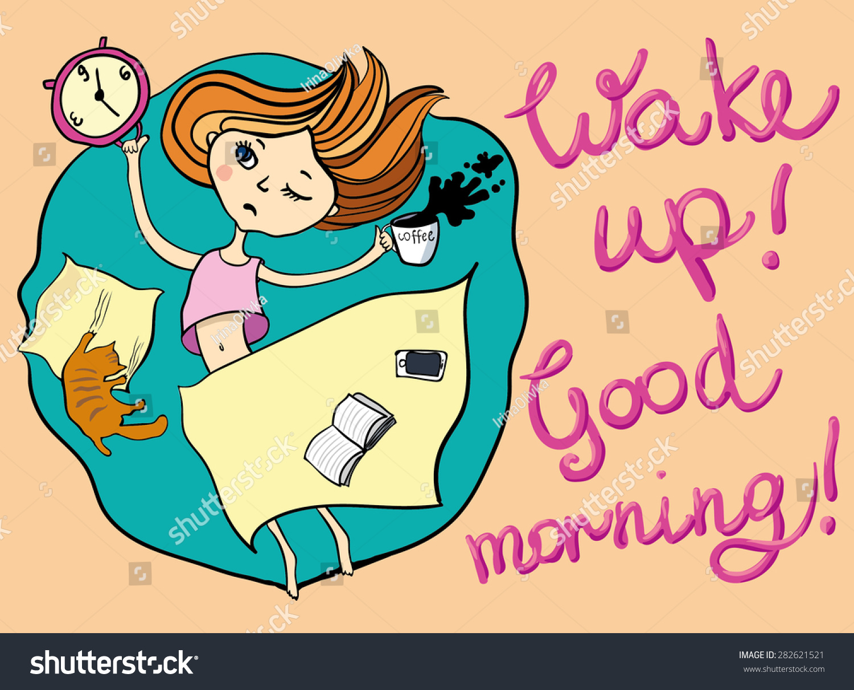 Good Morning Greeting Card Sleepy Girl Stock Vector Royalty Free