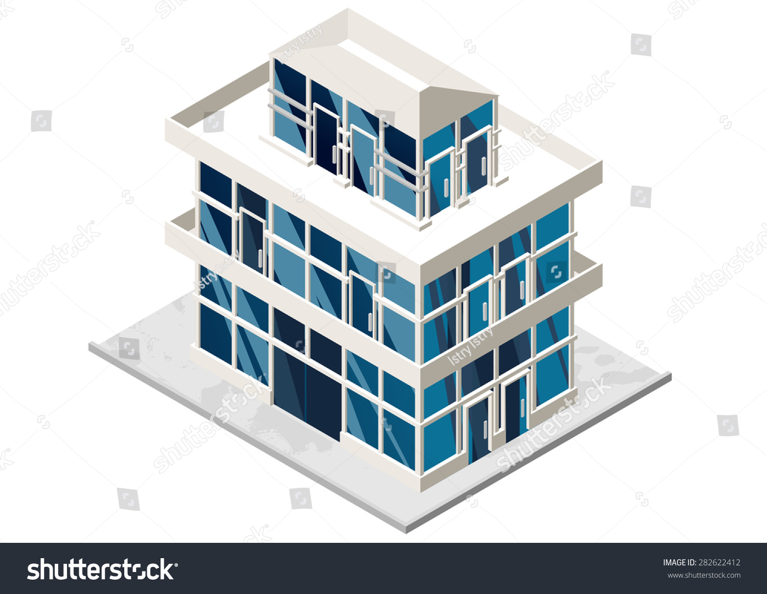 Vector Illustration 3d Building Isometric View Stock