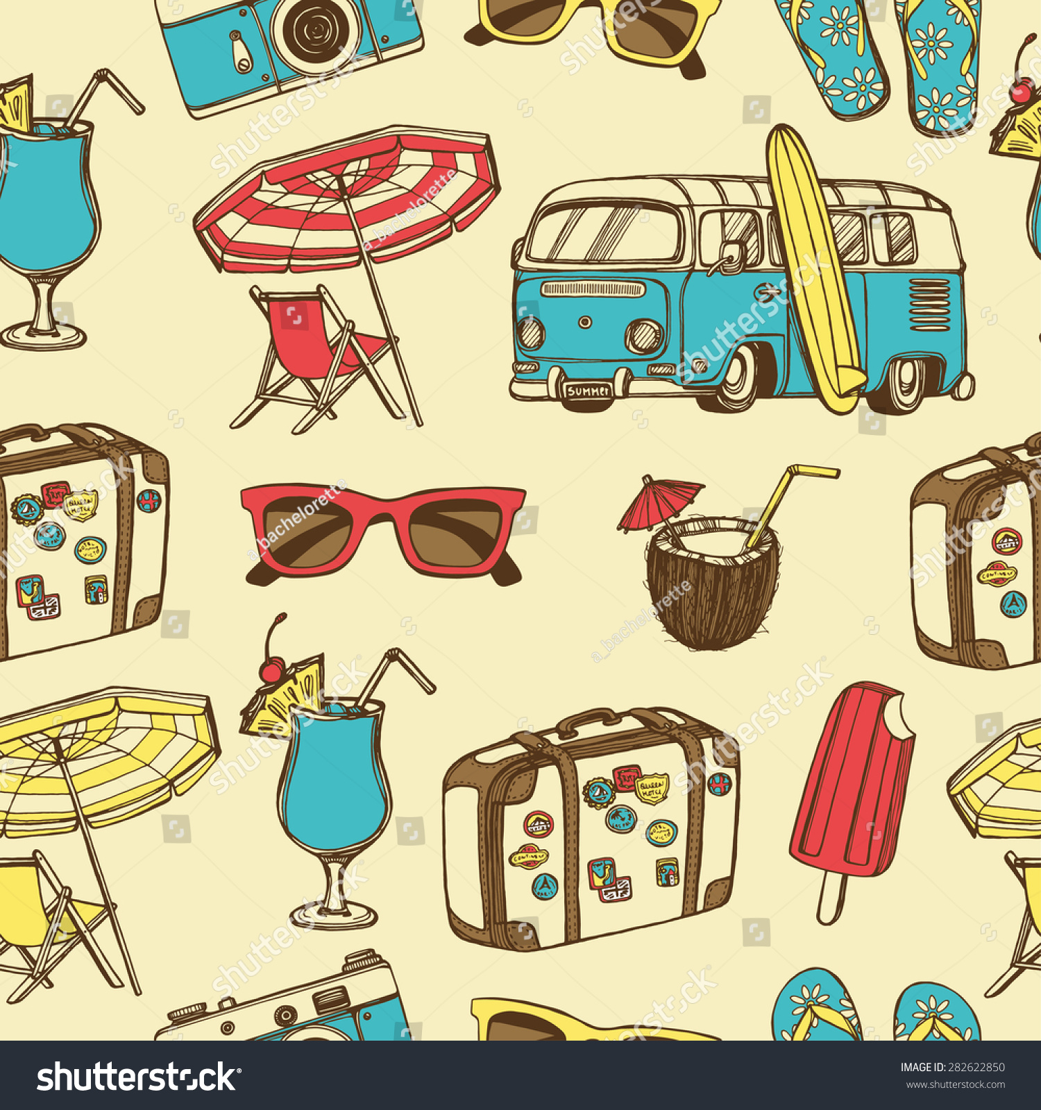 Retro Summer Vacation Seamless Pattern With Hand Drawn