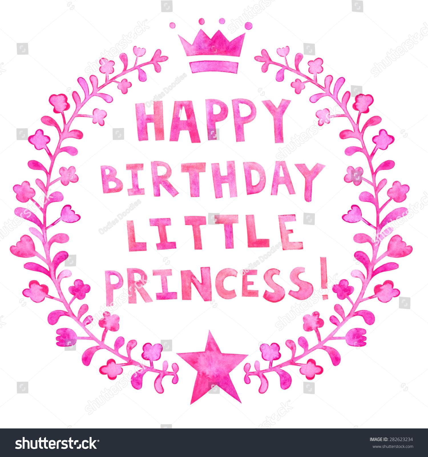 Happy Birthday Little Princess Watercolor Greeting Stock
