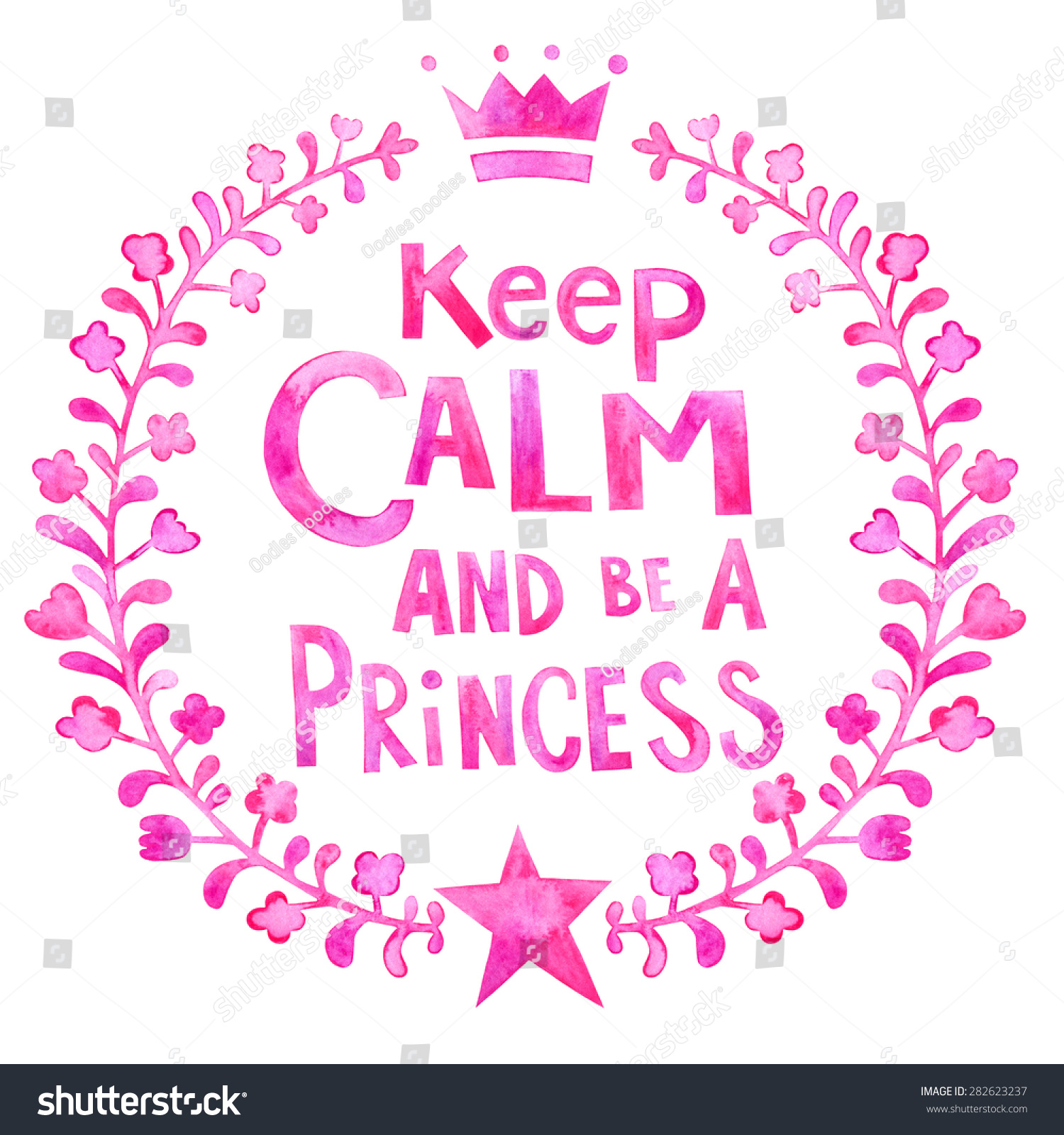 KEEP CALM AND BE A PRINCESS lettering. Keep calm and be a princess  watercolor poster 92c88a42ae5