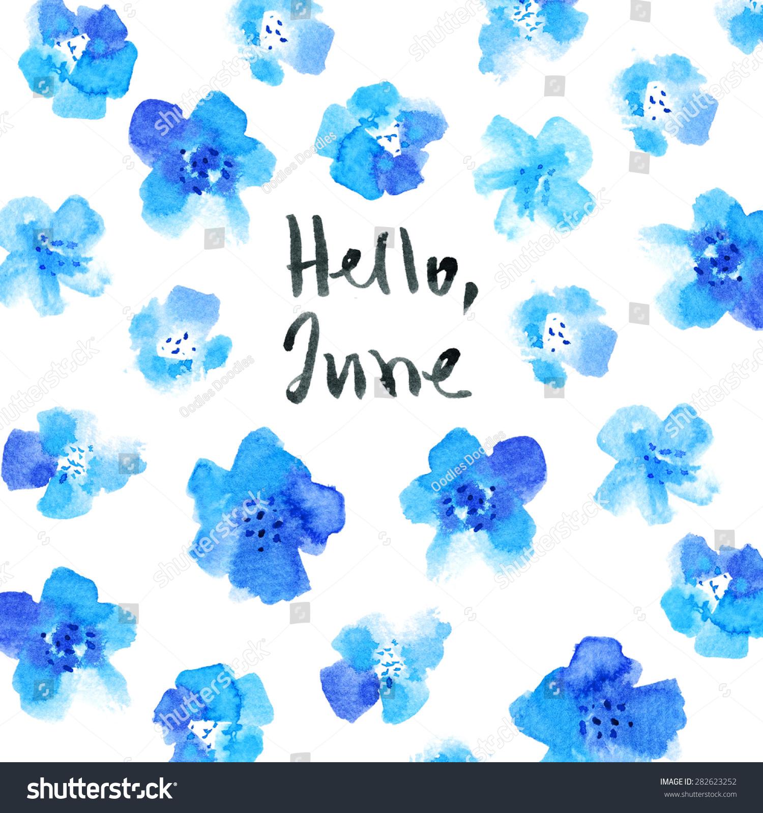 June Calendar Header : Hello june calligraphy watercolor card flowers stock