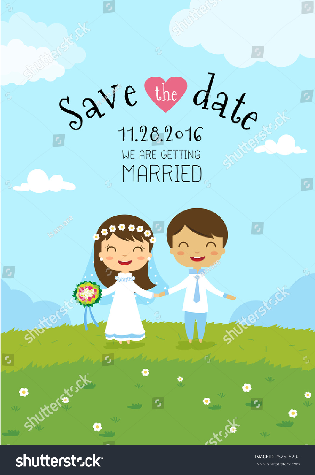 Wedding Invitation Card Template Cartoon Design Vector De Stock
