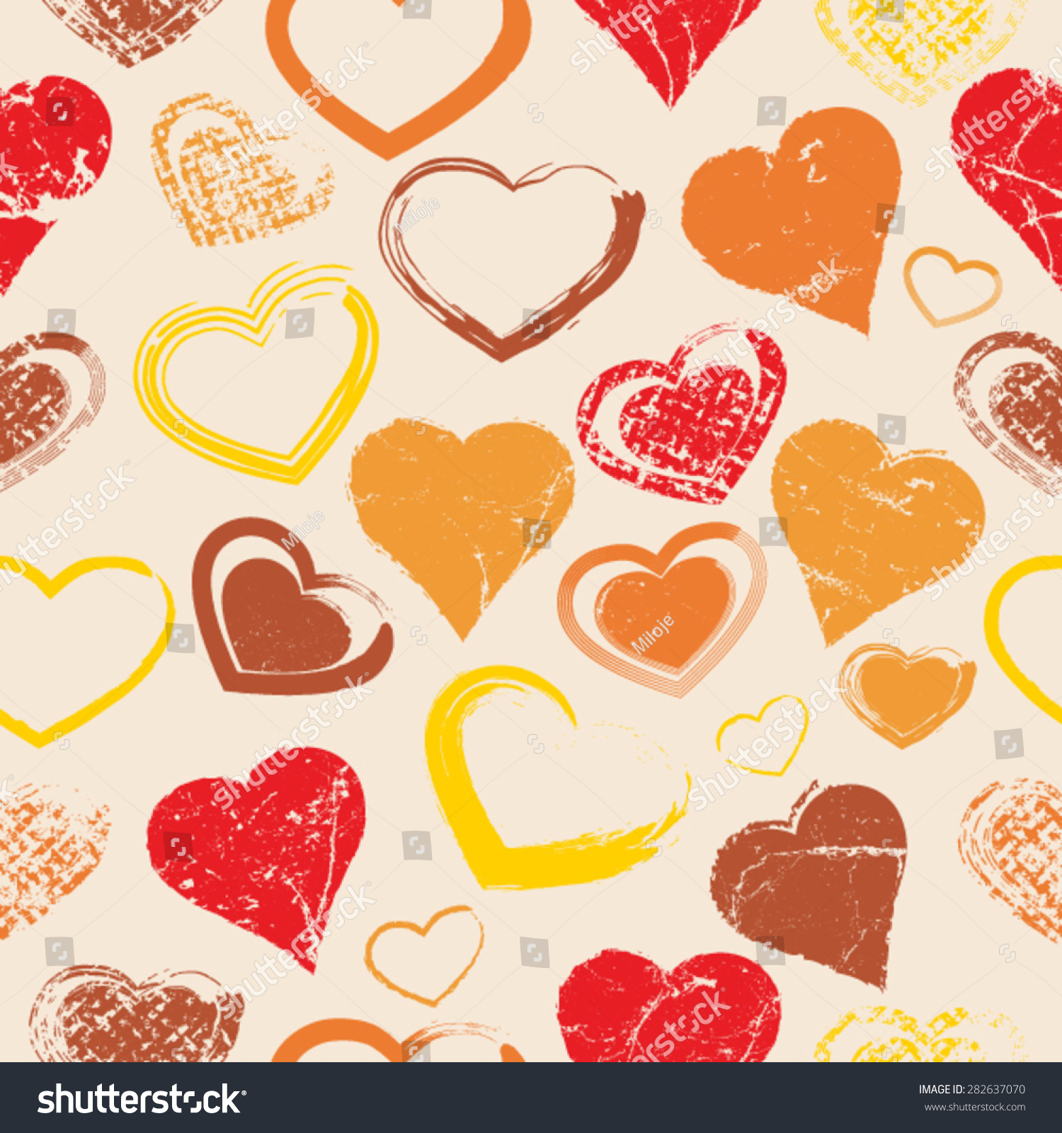 Vector Seamless Pattern Hearts Grunge Style Stock Vector 282637070