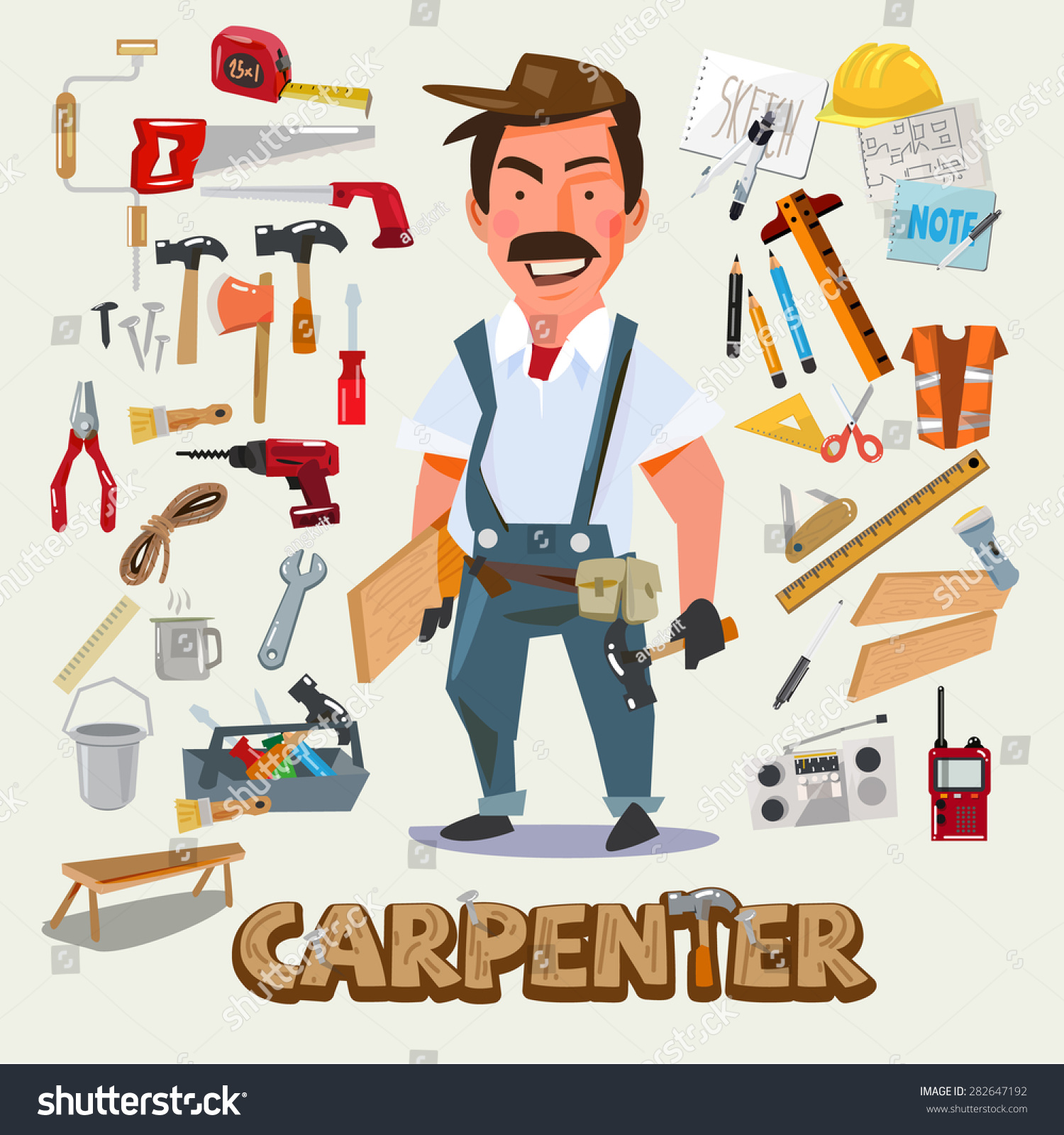 Cartoon Character Design Tool : Carpenter character design set tools carpentry stock