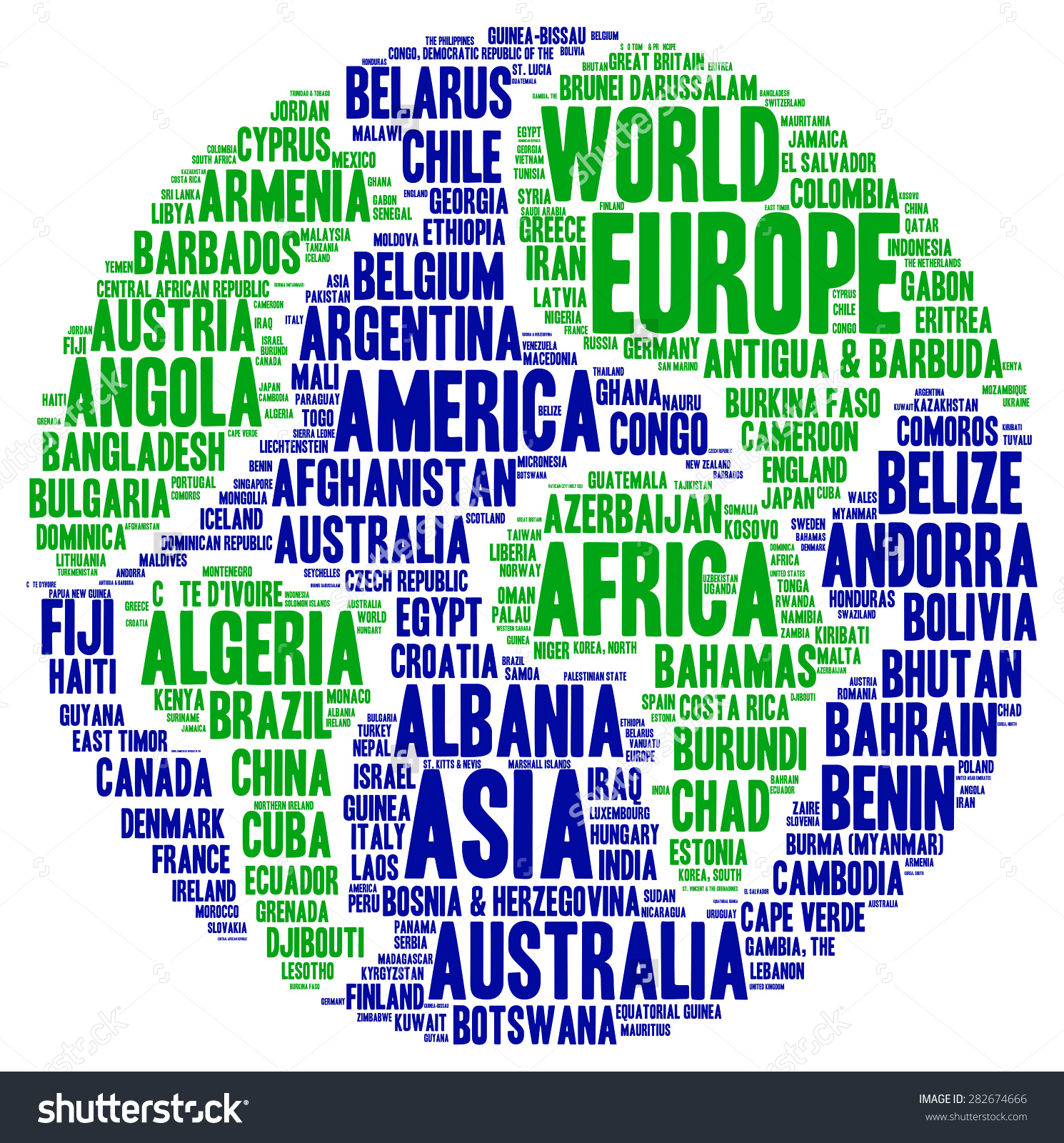World Country Names Word Cloud On Stock Illustration 282674666 ...
