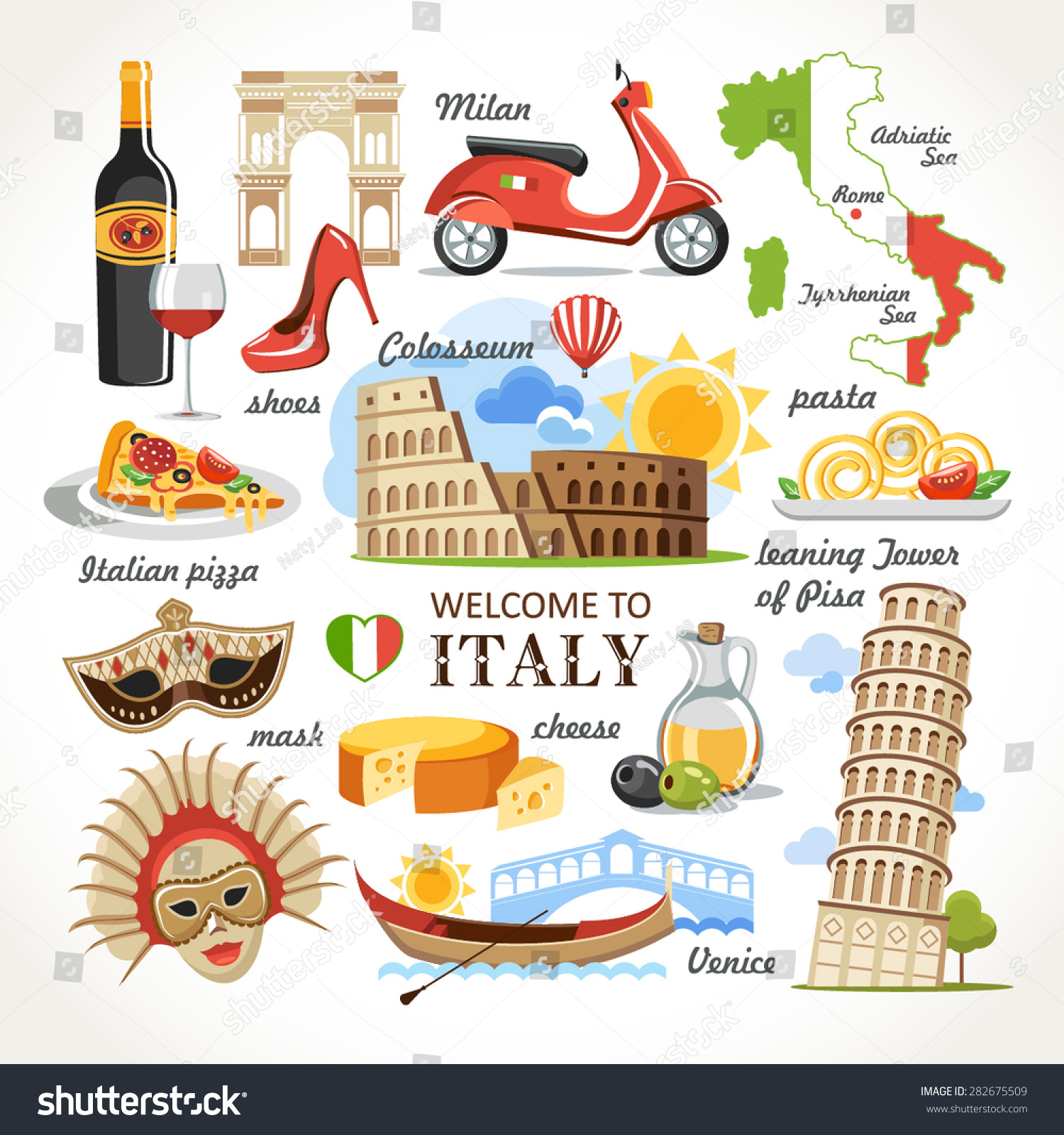 Royalty Free Welcome To Italy Symbols Set 282675509 Stock Photo