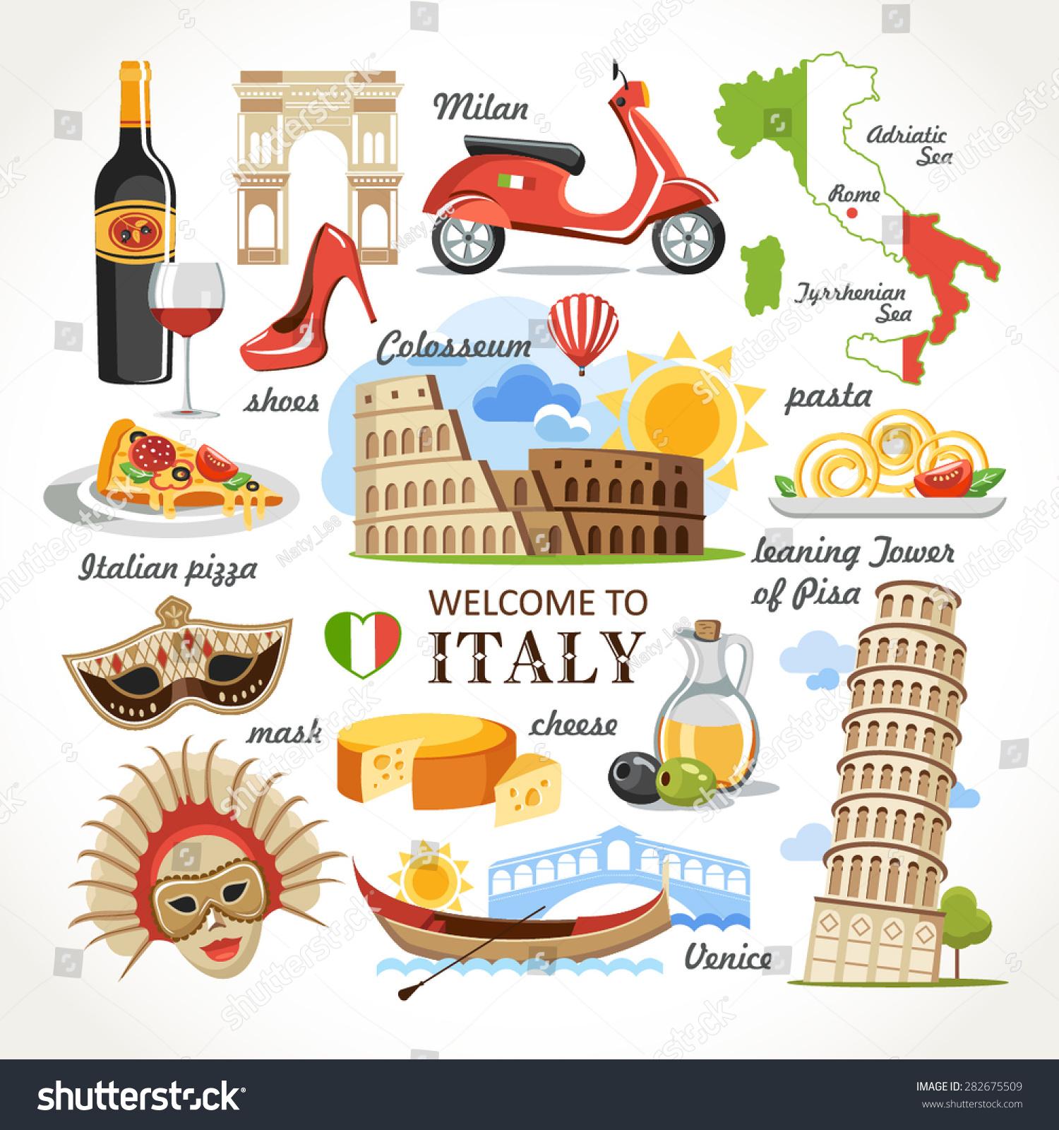 Welcome Italy Symbols Set Stock Vector 2018 282675509 Shutterstock