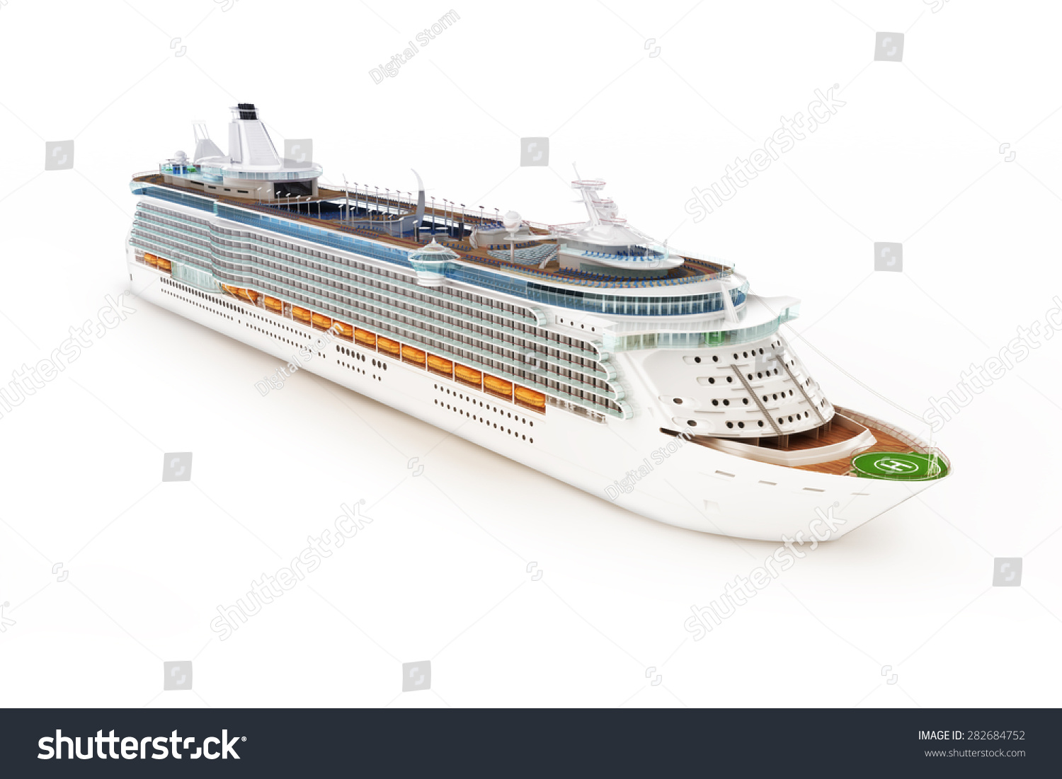 Cruise ship on an isolated white background