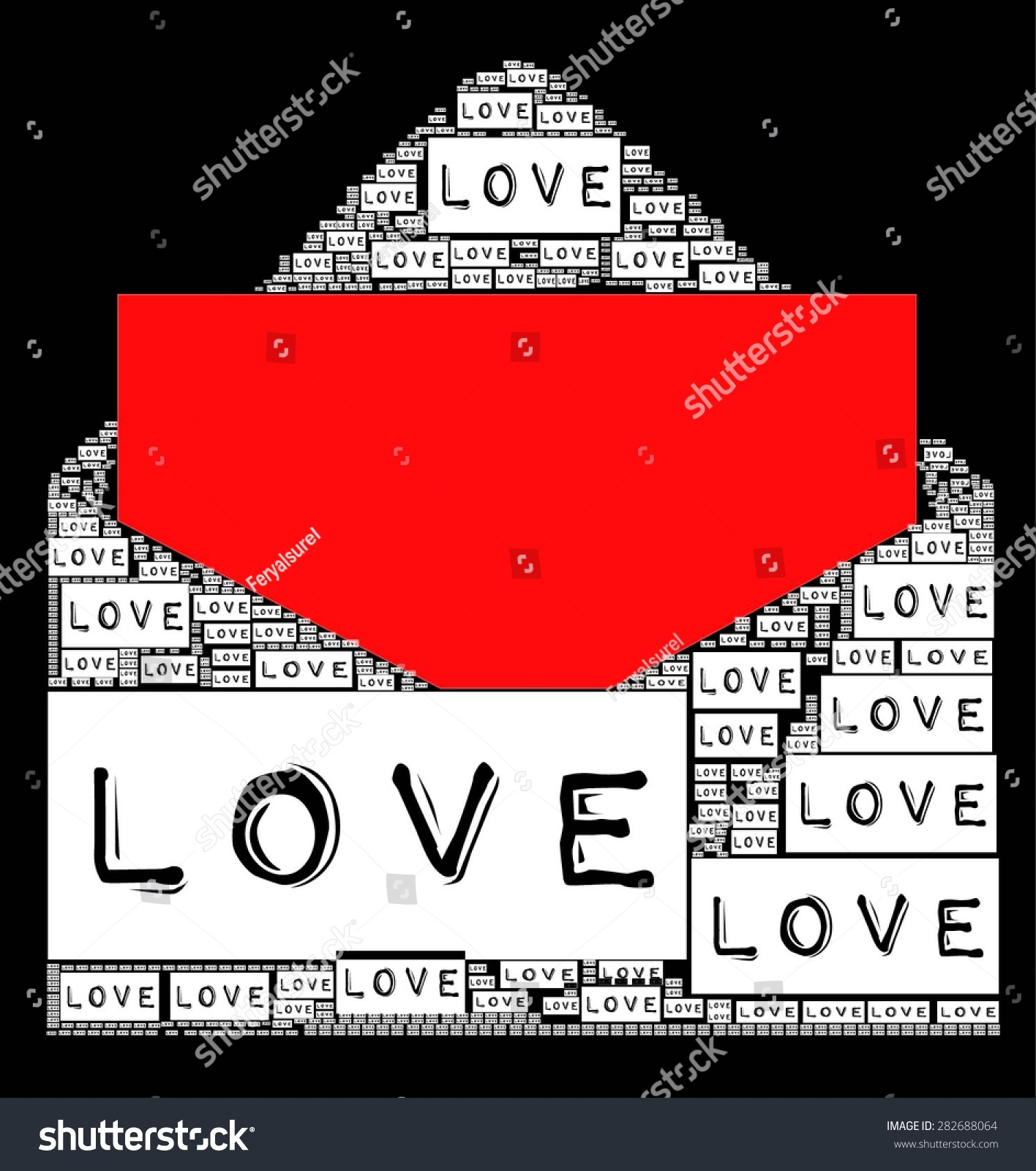 Shirt design envelope - Red Color Love Letter With Love Text Become An Envelope And Black White Together For Valentines