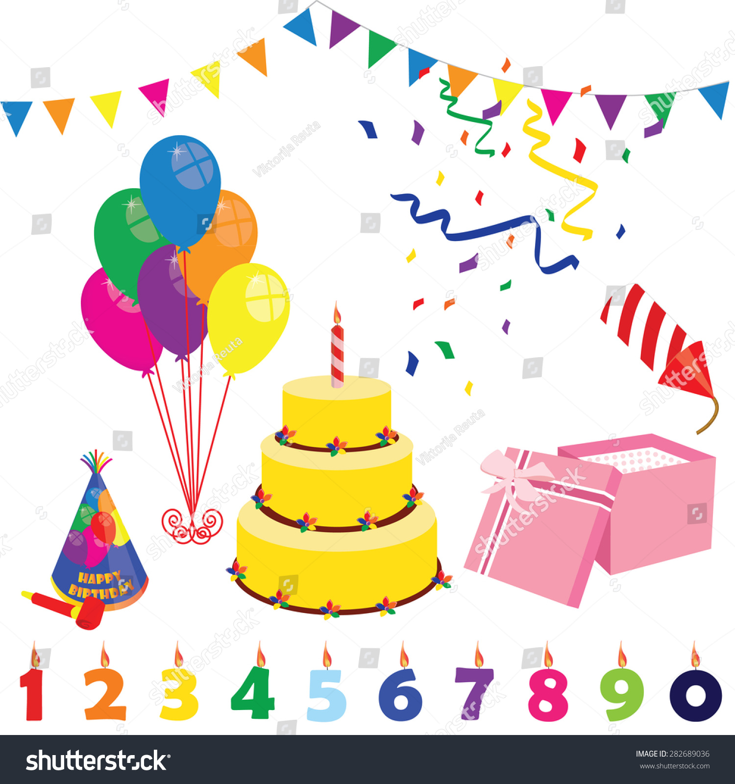 Birthday Party Elements Hat Cake Candles Balloons Gift Box And Petard Surprise Celebration