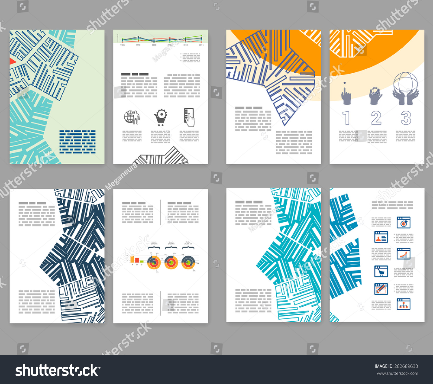 Flyer leaflet booklet layout set editable stock vector for Editable brochure templates