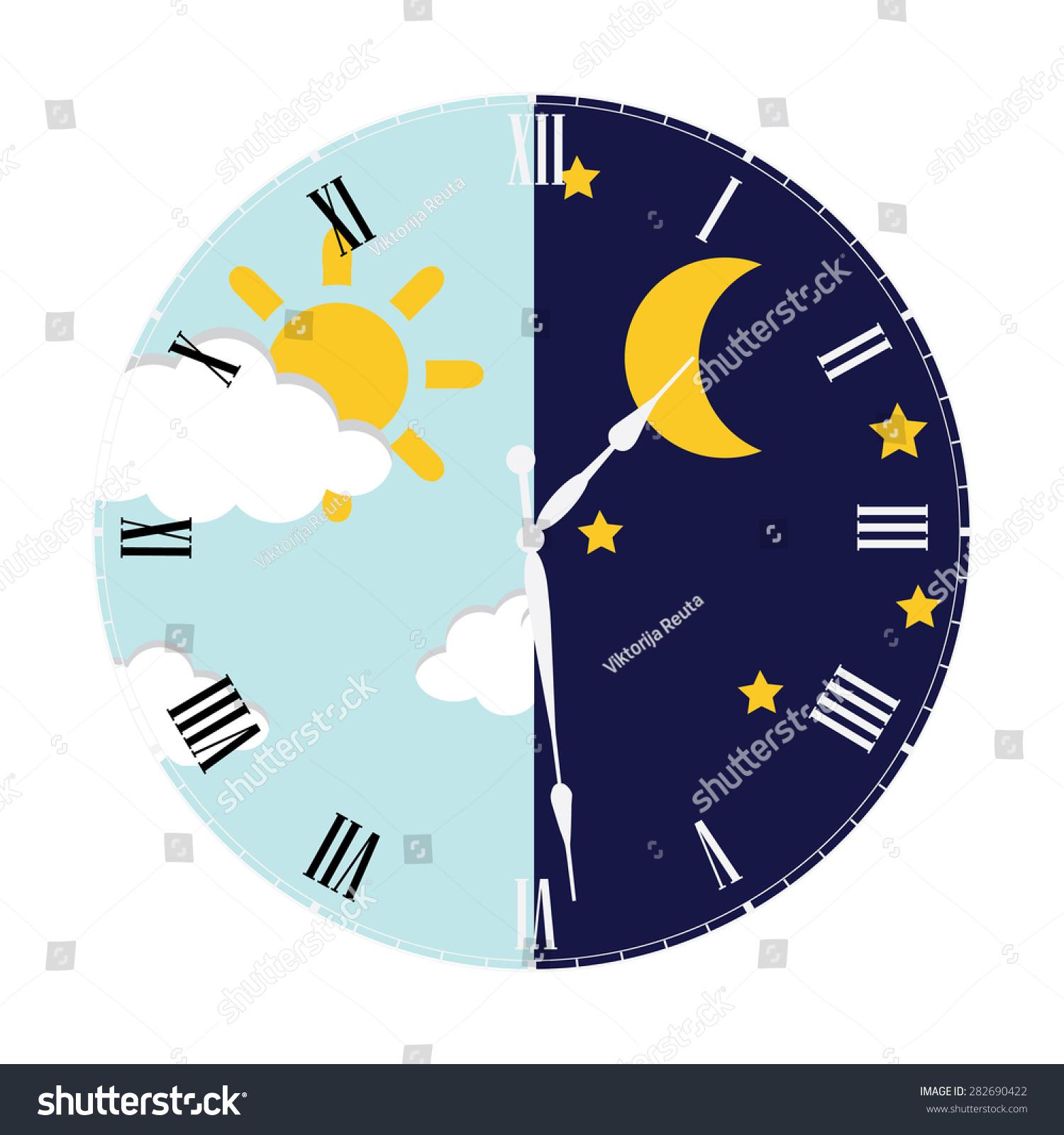 clock day night concept clock face stock vector 282690422. Black Bedroom Furniture Sets. Home Design Ideas