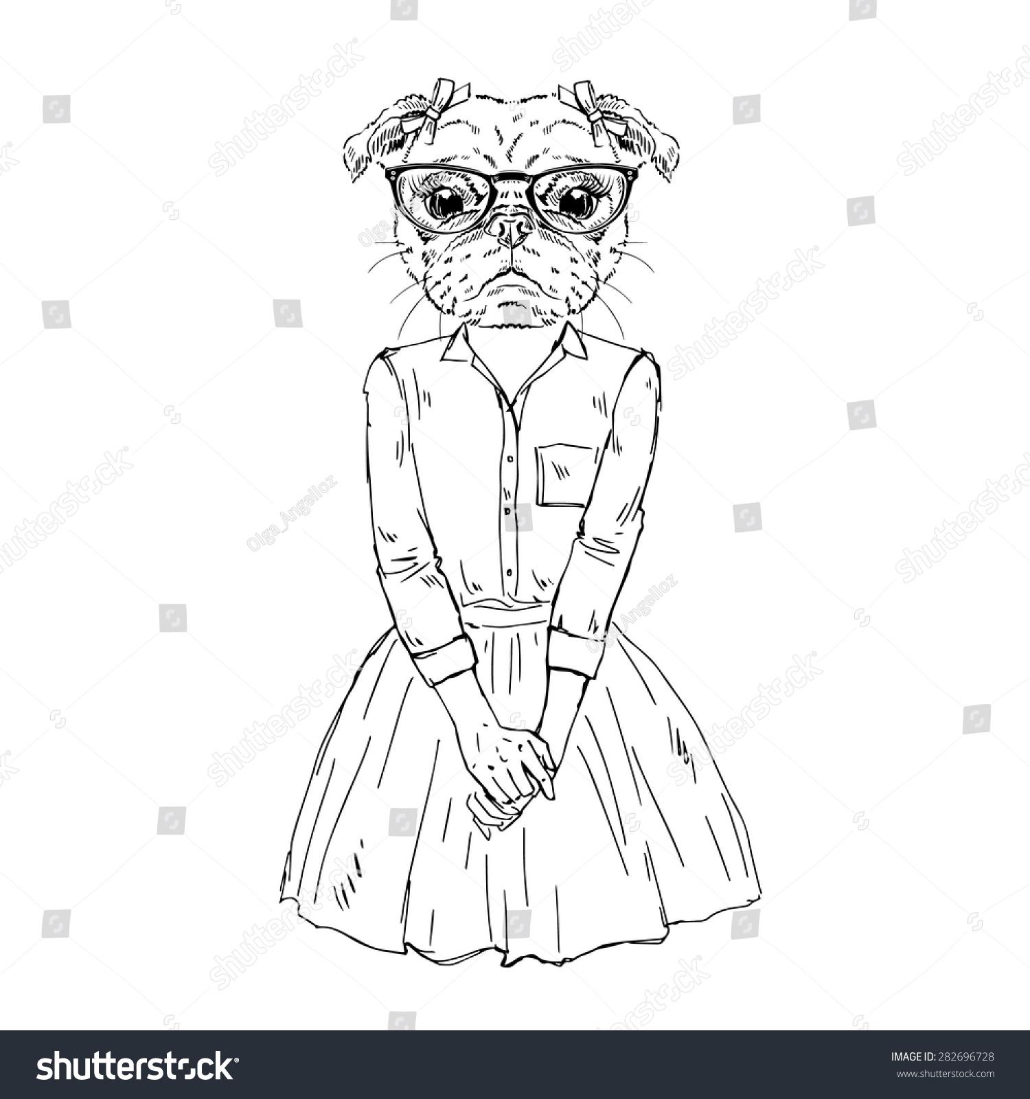 Fashion Animal Illustration Anthropomorphic Design Furry Art Hand Drawn Of Pug Doggy