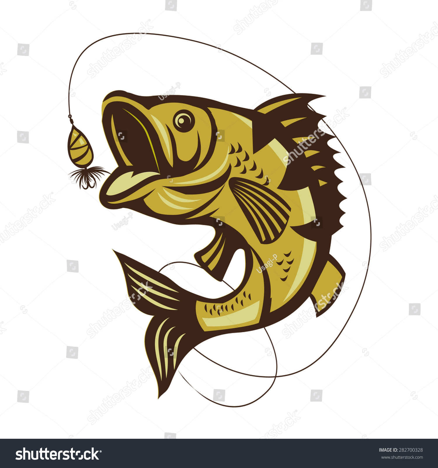 Catching Bass Fish Vector On White Vector de stock282700328 ...