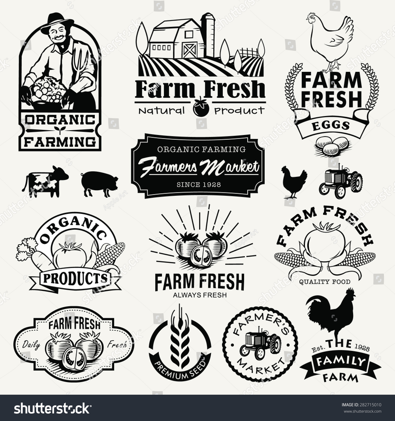 Vintage Wheat Logo Collection: Farm Logotypes Set Retro Farm Fresh Stock Vector 282715010