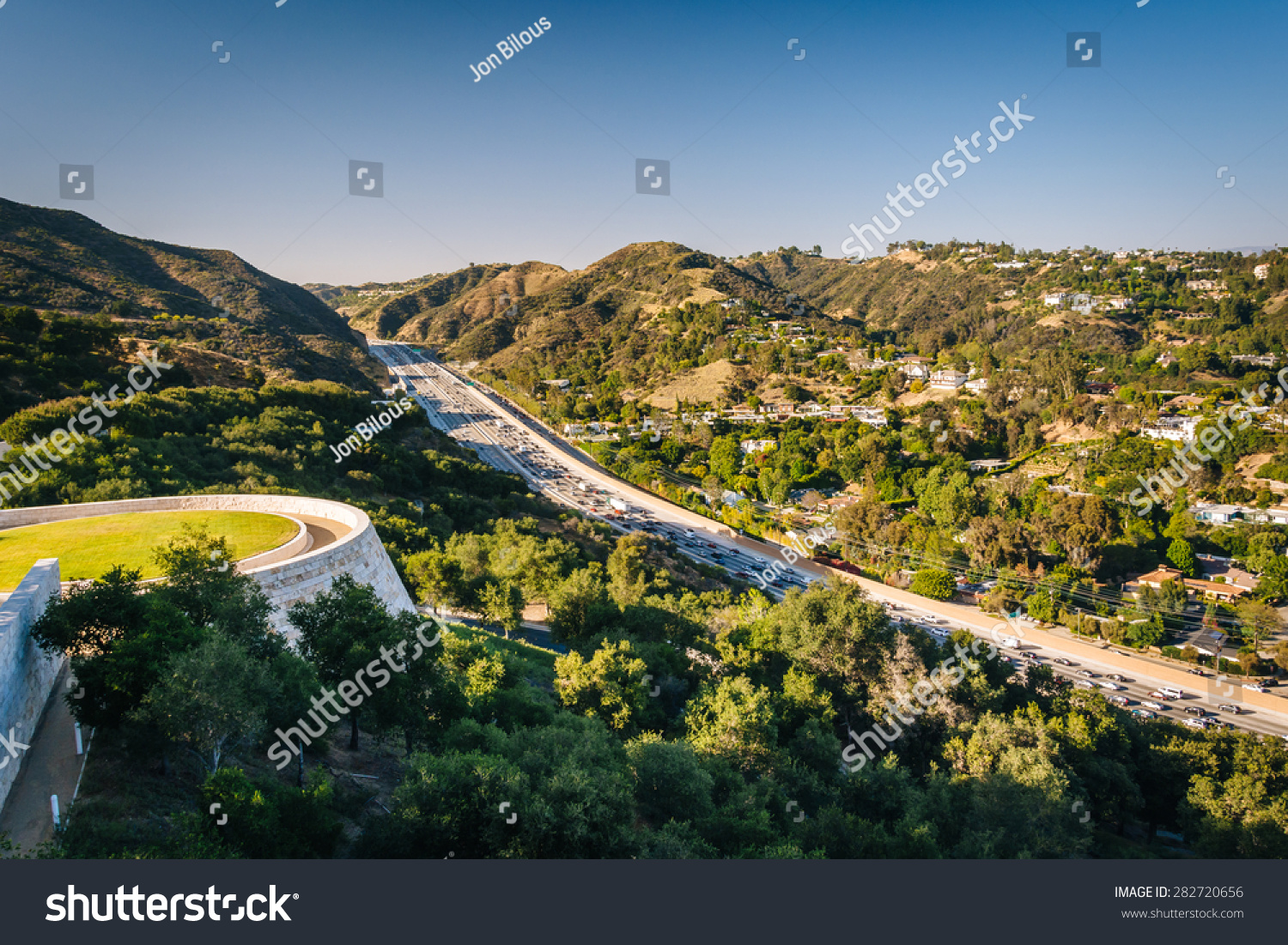 view of the 405 freeway in brentwood los angeles california stock photo 282720656 shutterstock. Black Bedroom Furniture Sets. Home Design Ideas