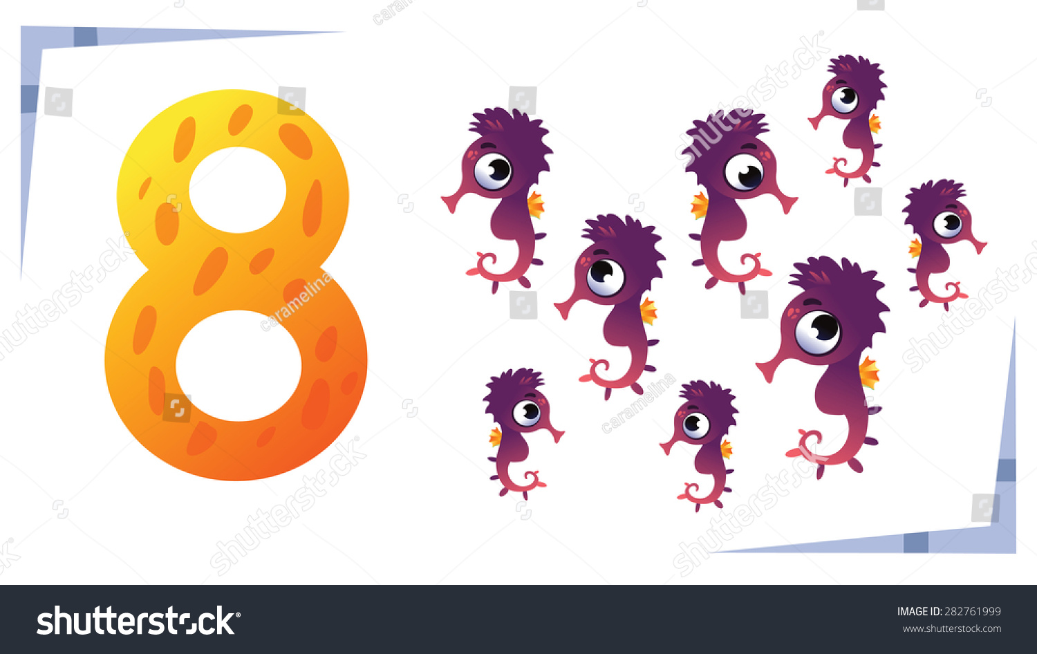 collection number kids sea animals number stock vector 282761999