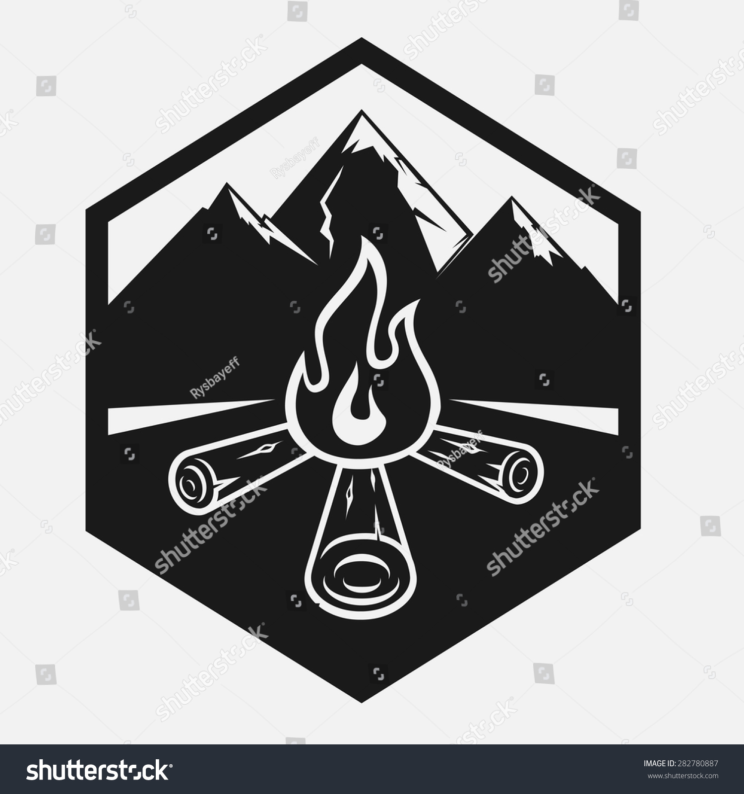 Vector Logo Campfire Front Mountains Firewood Stock Vector ...