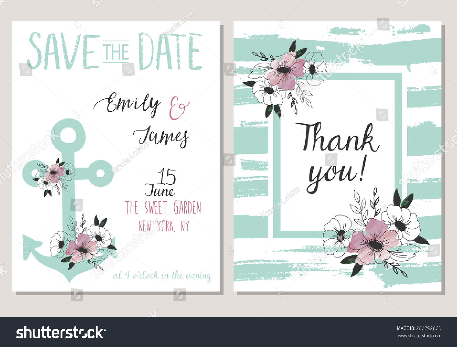 2 Save Date Cards Template Collection Stock Vector Royalty Free