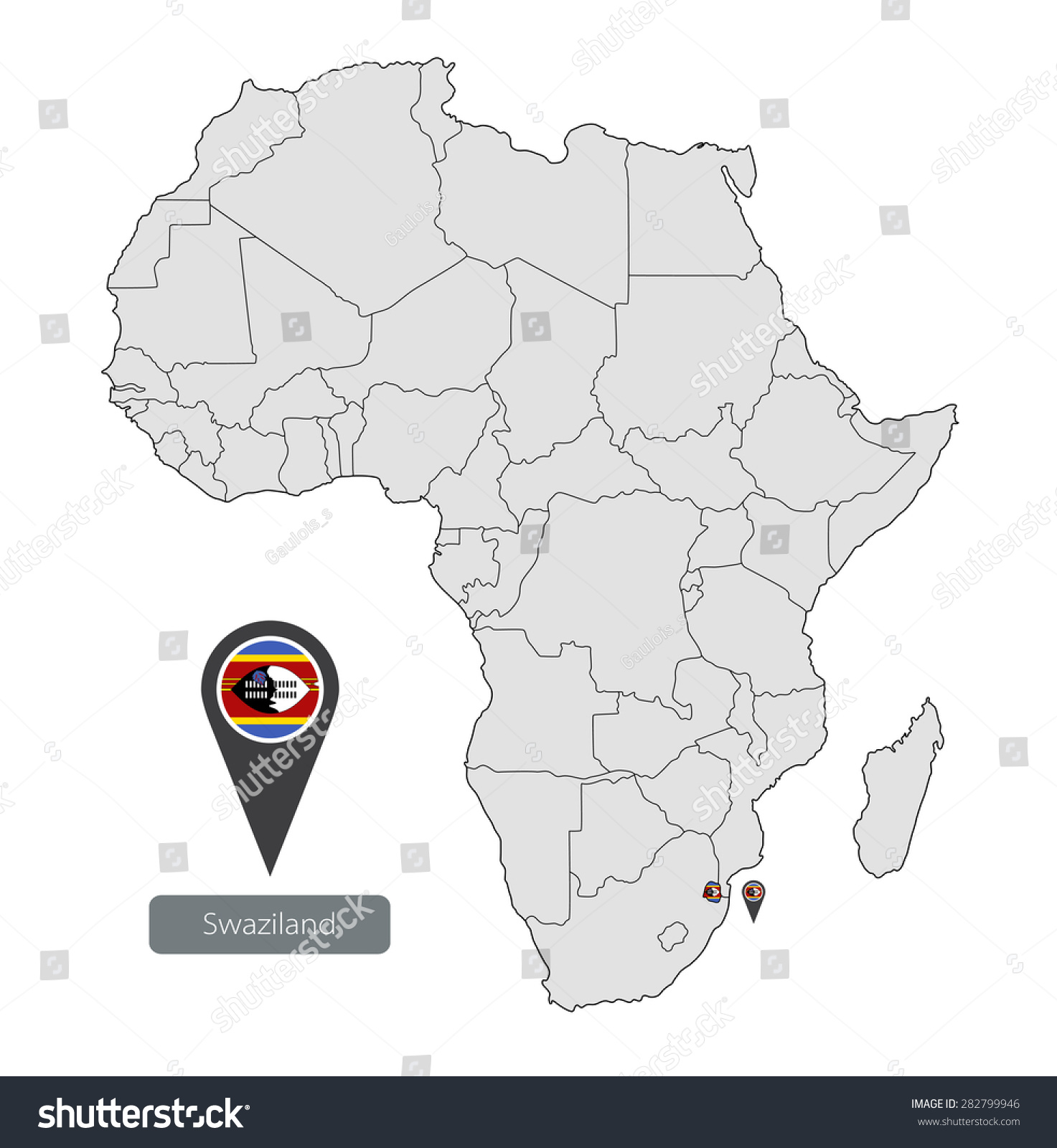 Map Swaziland Official Flag Location On Stock Vector (Royalty Free ...