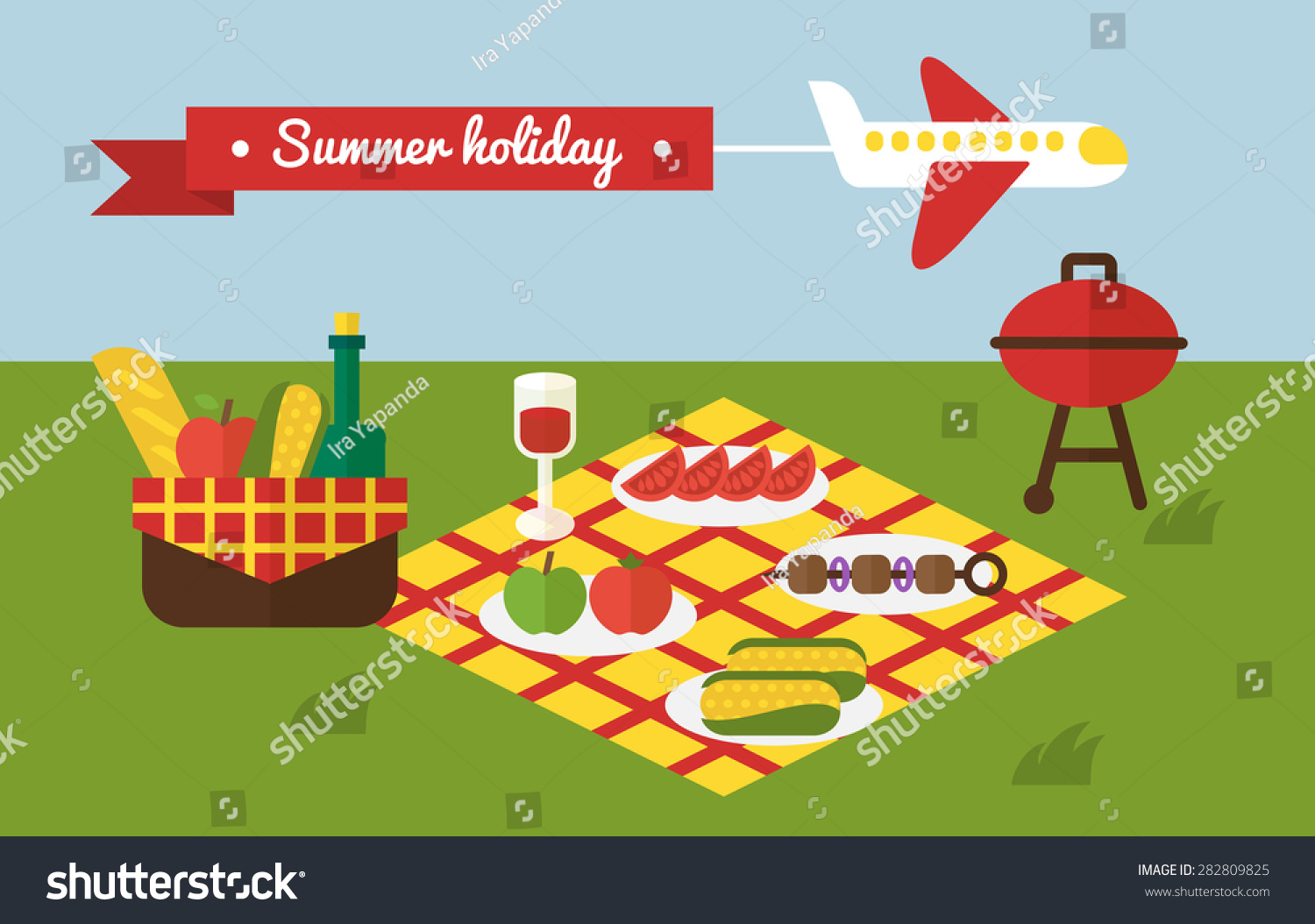 Summer Picnic Barbecue Grill Cooking Party Stock Vector 282809825 ...