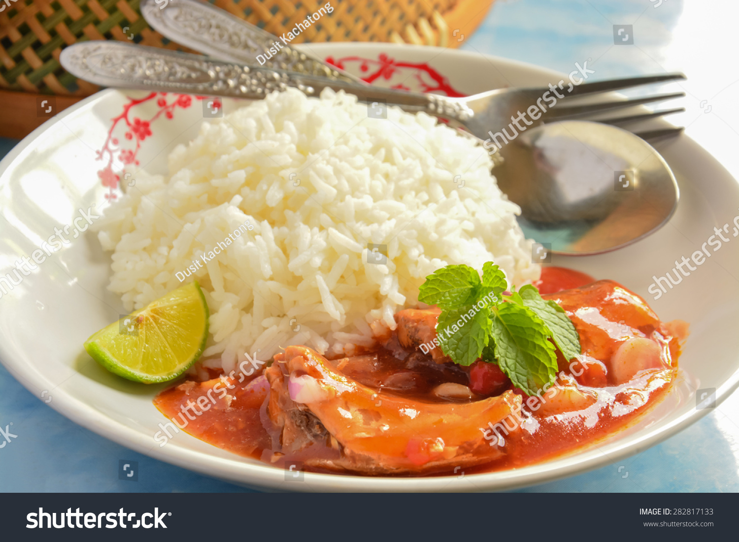 Canned fish jasmine ricethai style stock photo 282817133 for Fish and rice diet