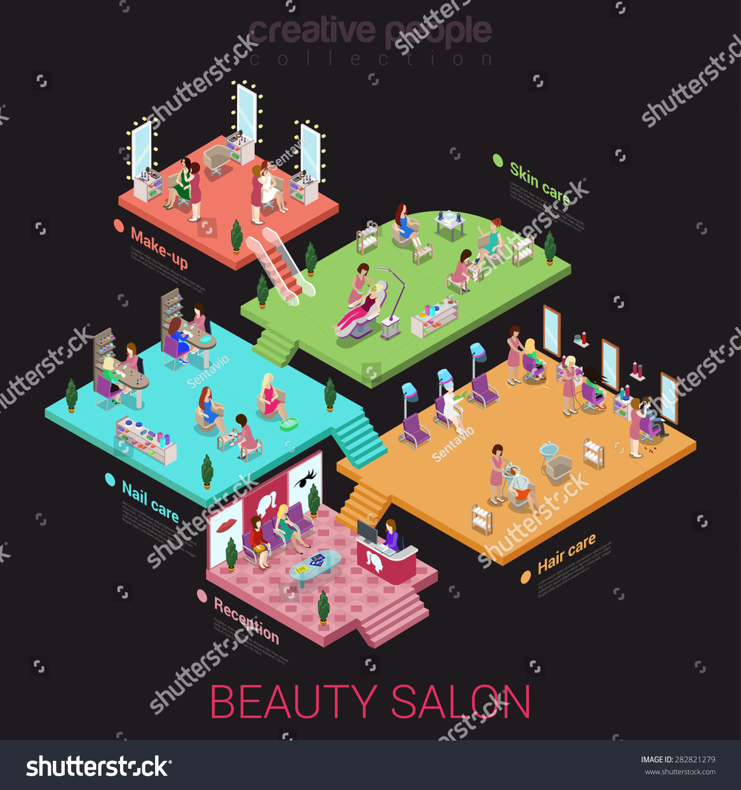 Royalty free flat 3d isometric abstract beauty salon for Abstract beauty salon