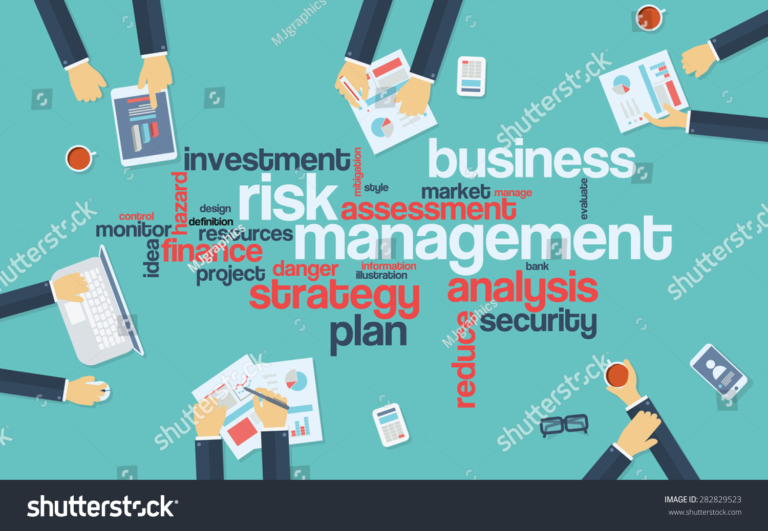Poster design keywords - Risk Management Infographics Poster With Businessmen Working Around The Word Cloud Analysis And Planning Keywords