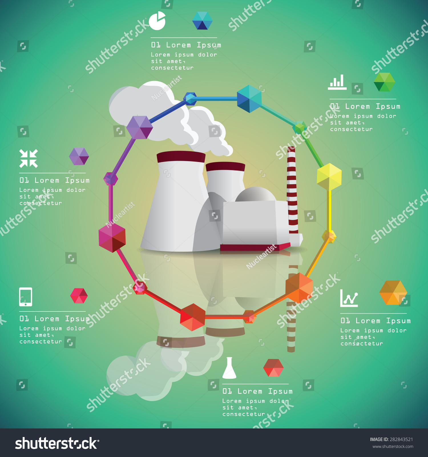 Nuclear Power Plant Vector Image Energy Stock Royalty Free With Diagram Industry Infographic
