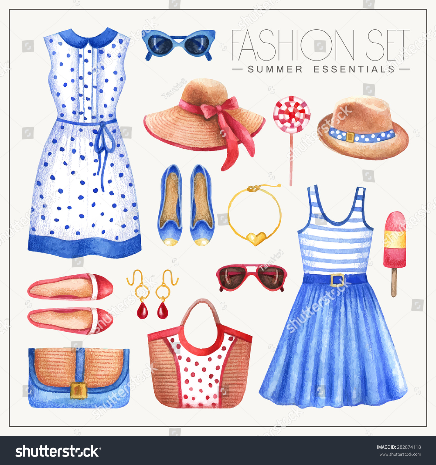 Vector Watercolor Romantic Fashion Set Womans Stock Vector ...