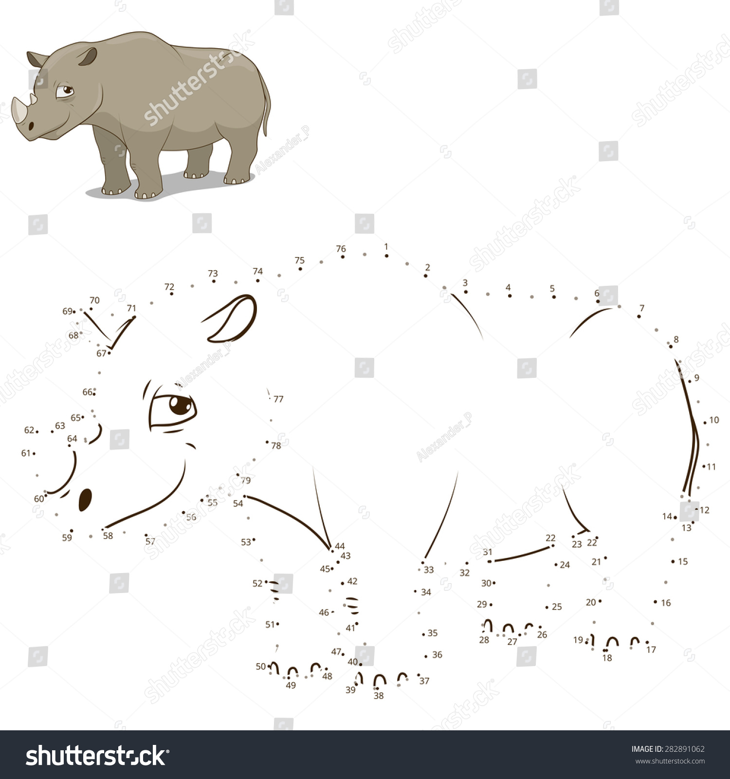 connect dots draw animal educational game stock vector 282891062