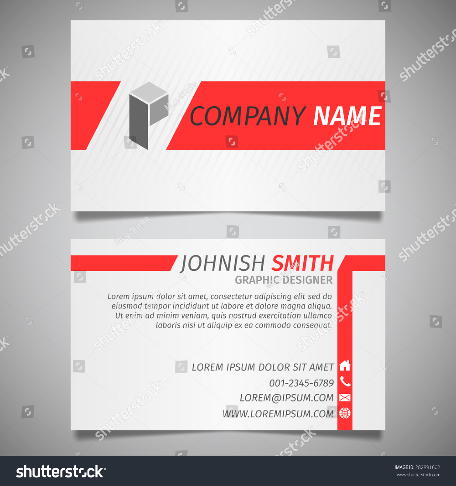 Modern Creative Simple Business Card White Stock Vector 282891602 ...