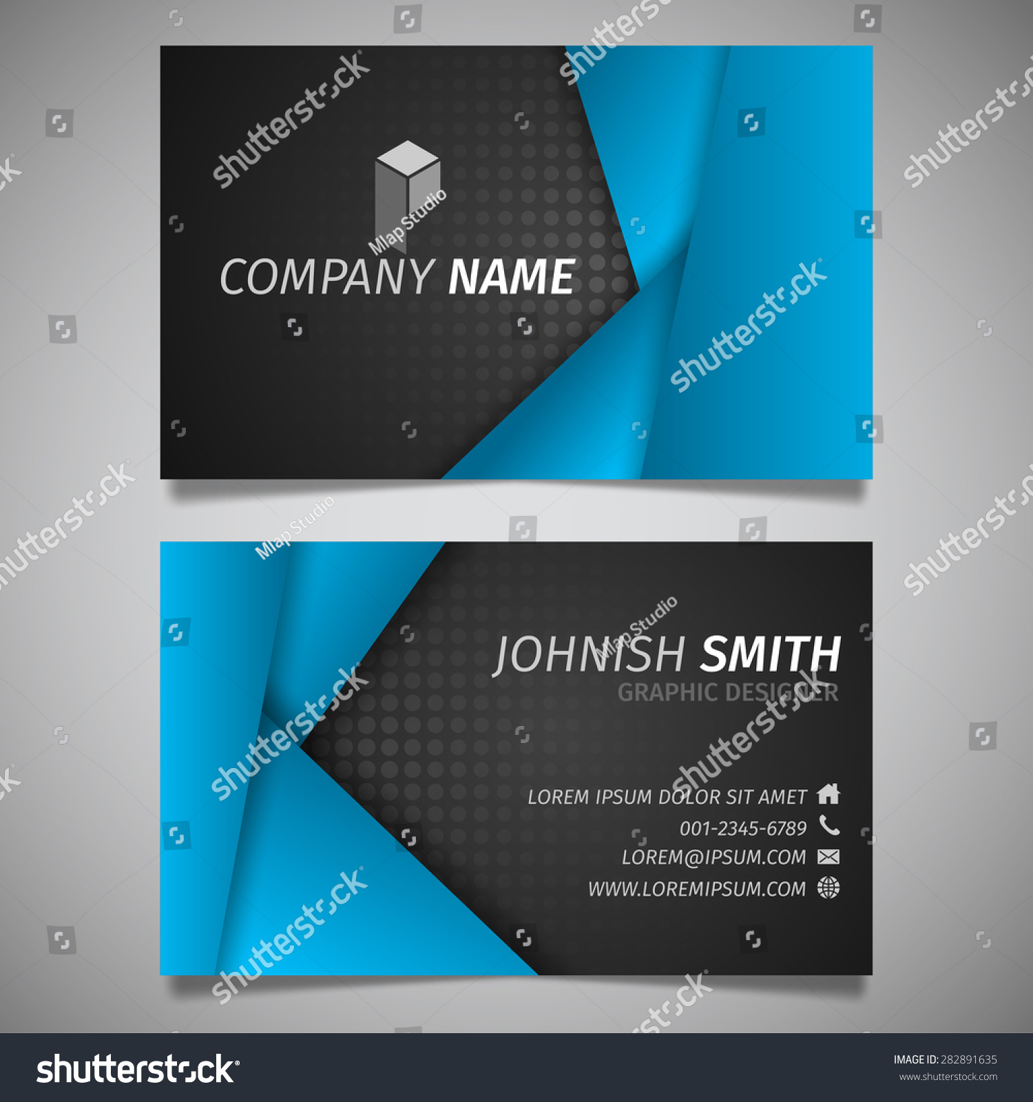 Modern Creative Simple Business Card Black And Blue Polygon Template Vector