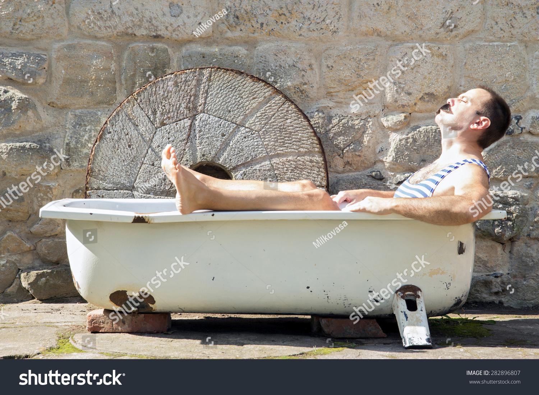 Man Retro Swimsuit Resting Outdoor Bathtub Stock Photo (100% Legal ...