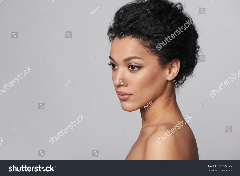 Beauty Closeup Profile Portrait Beautiful Mixed Stock ...