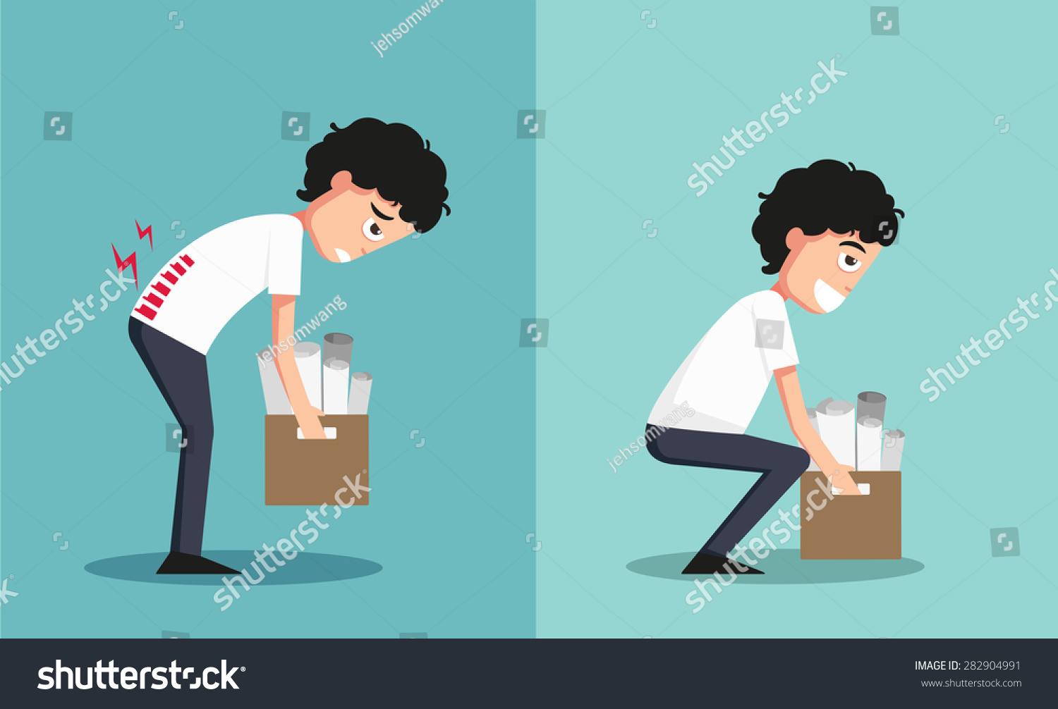 improper versus against proper lifting illustrationvector stock
