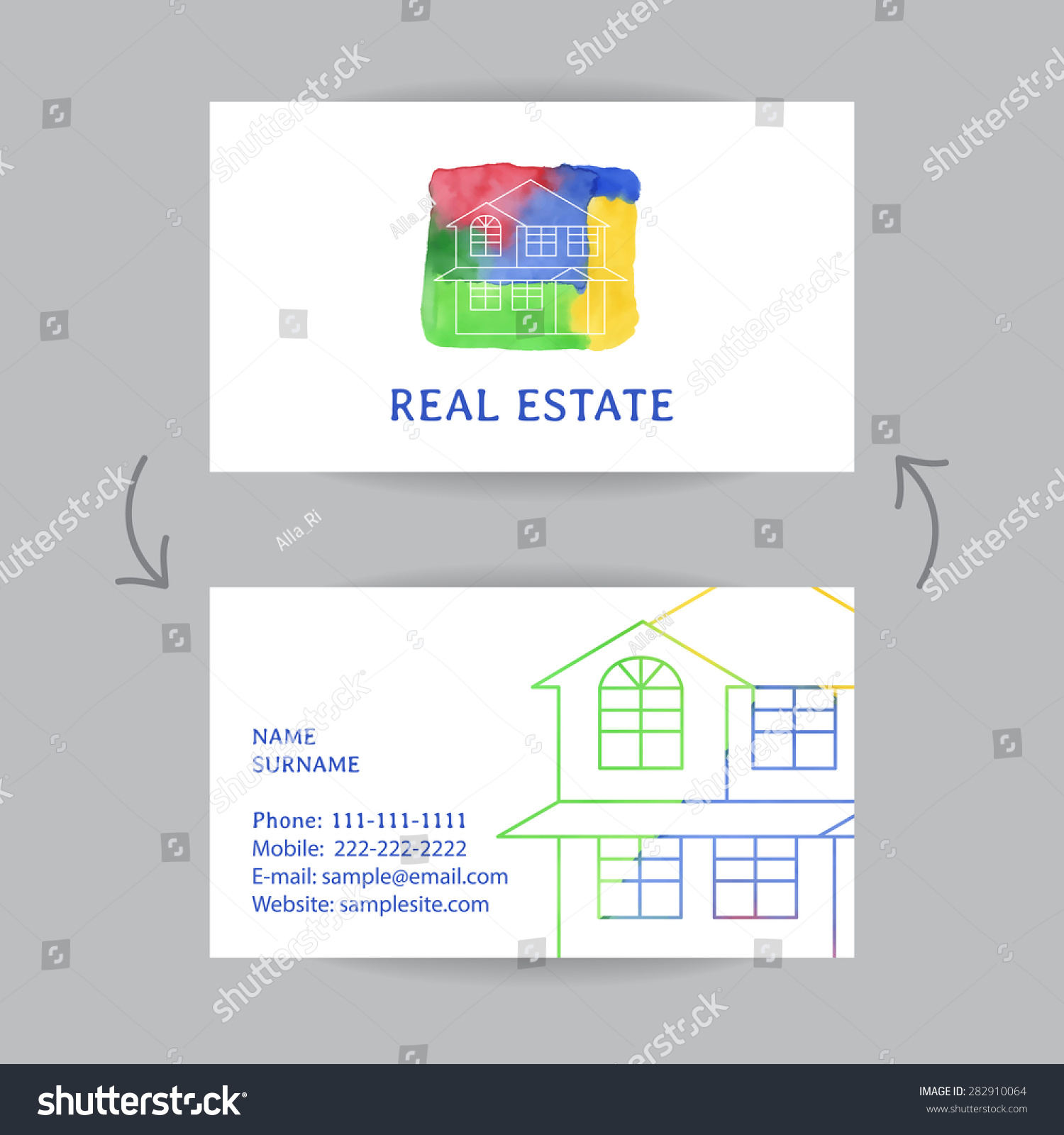 business card house outline realtors real stock vector