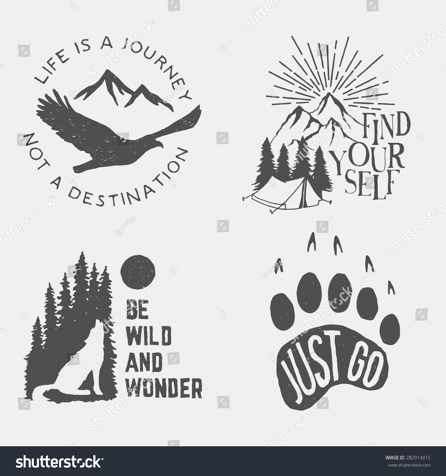 set wilderness hand drawn typography posters stock vector 282914015 shutterstock