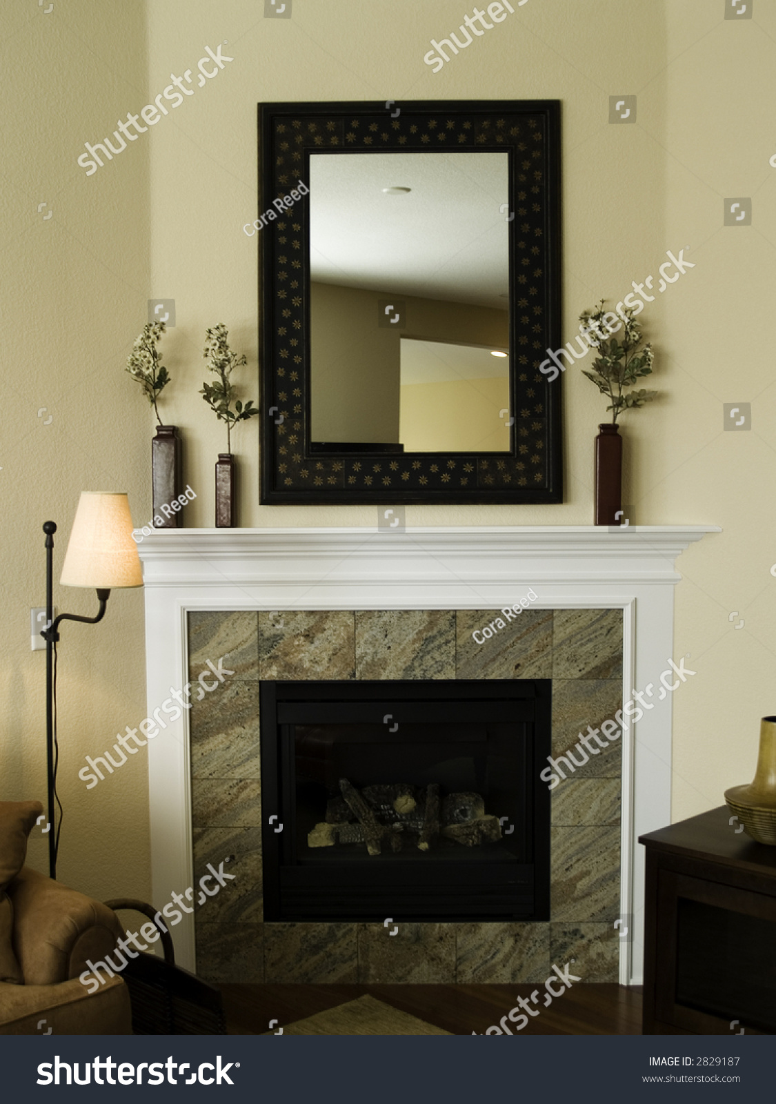 fireplace and mantel with mirror stock photo 2829187 shutterstock