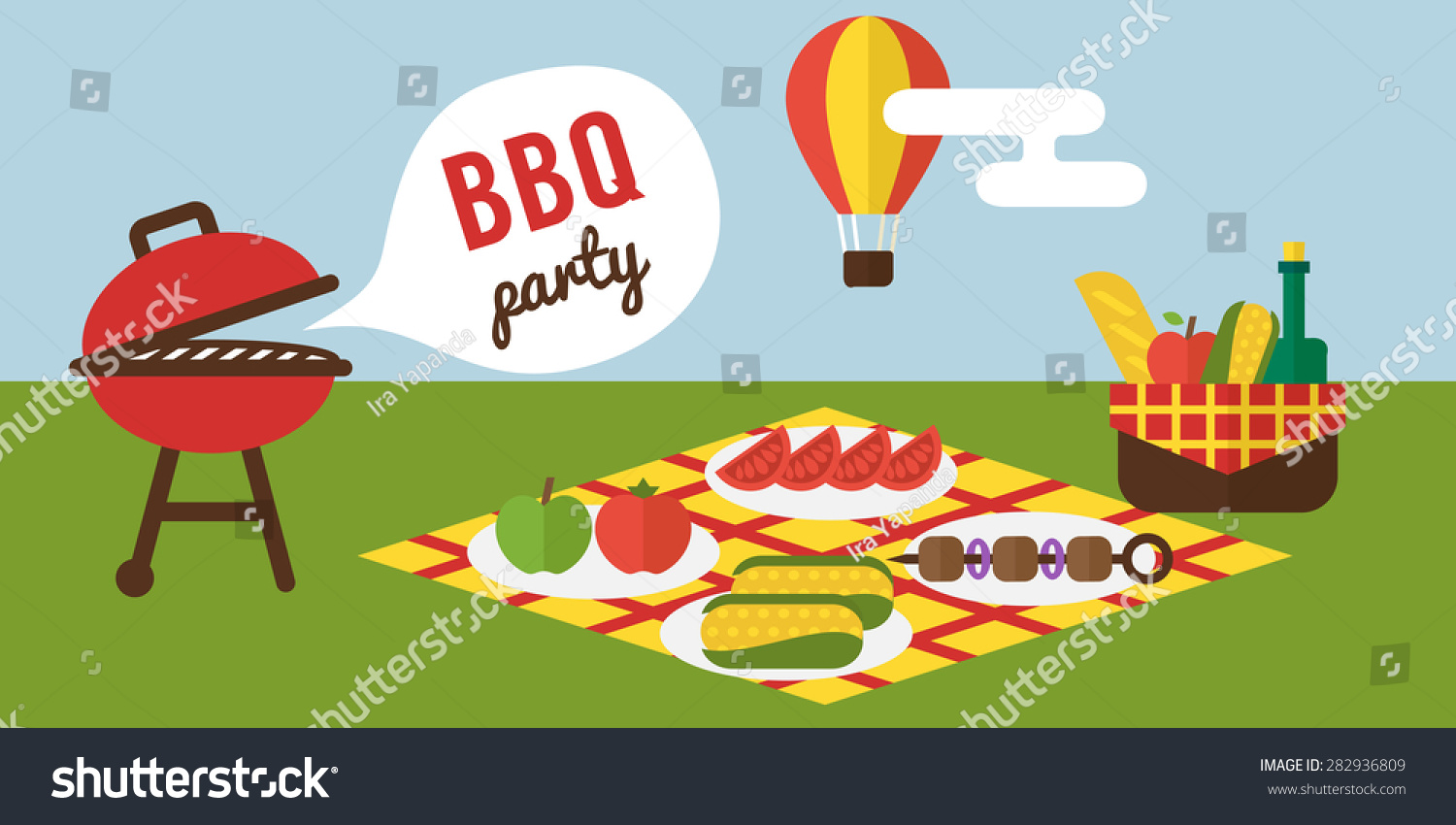 Barbecue And Grill Cooking Picnic. Invitation Template.
