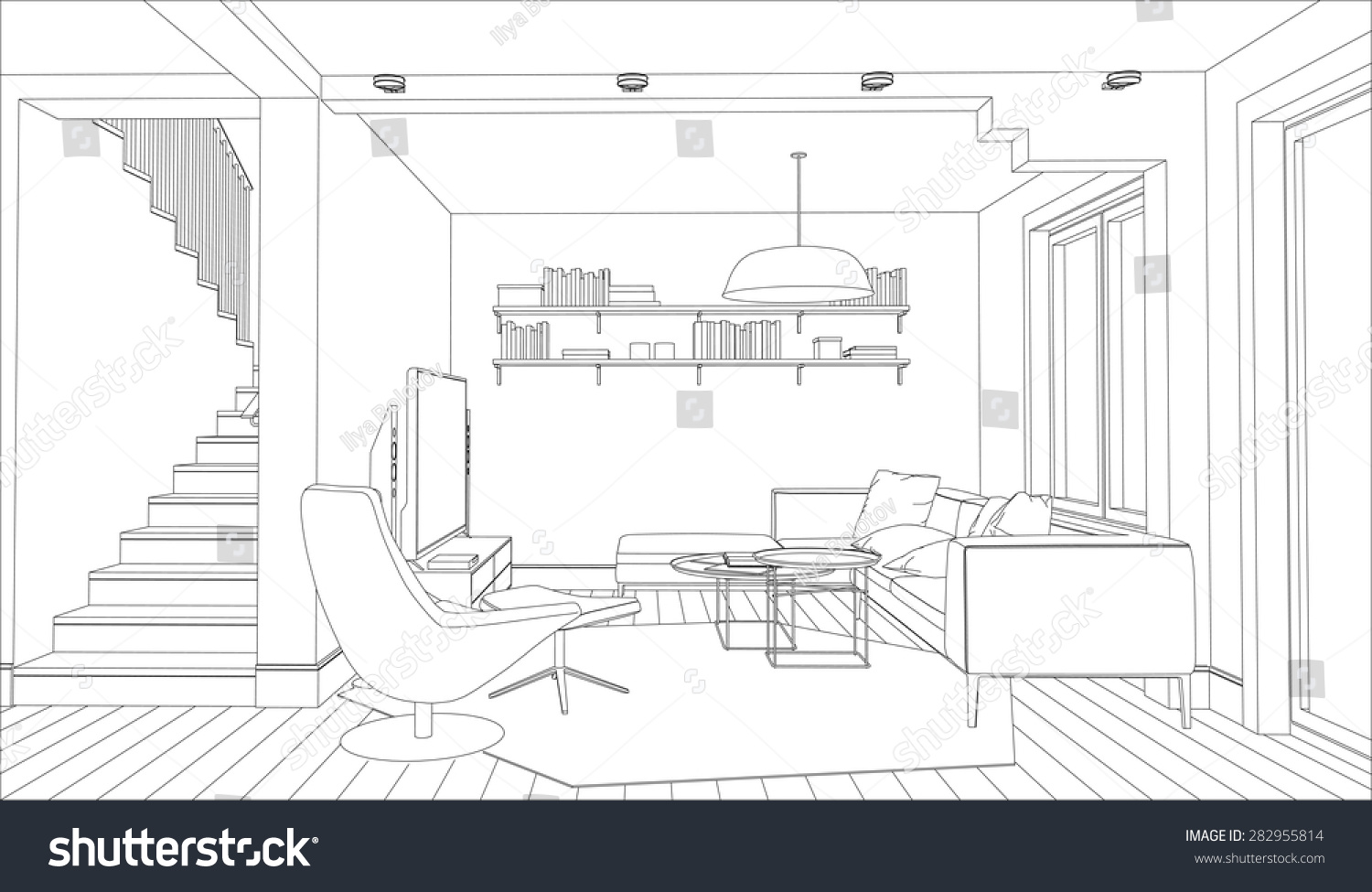 Line Art Software : Line drawing interior on white background stock vector