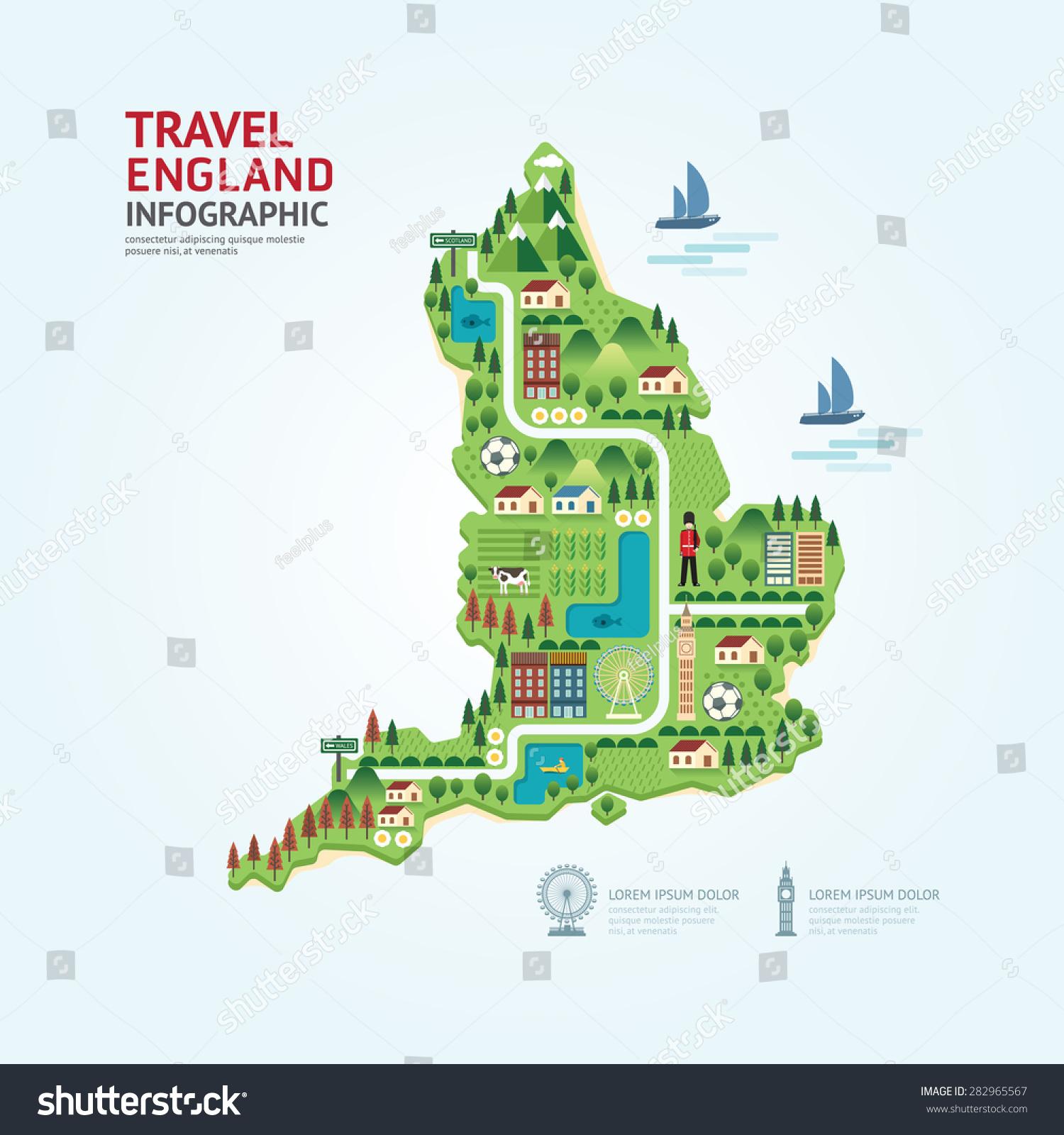 Web Site Design Map: Infographic Travel And Landmark England,United Kingdom Map