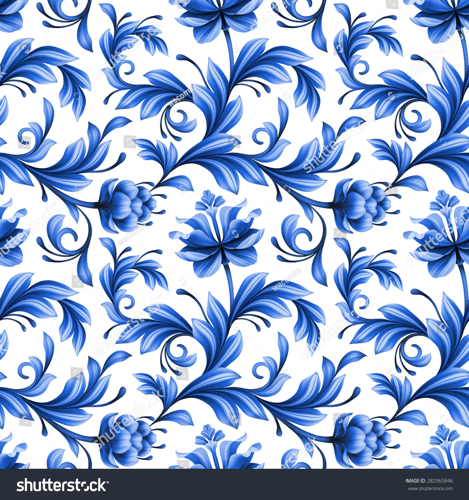 Artistic floral element abstract gzhel folk art blue flowers stock - Abstract Floral Seamless Background Pattern With Folk Art Flowers Blue White Gzhel Ornament