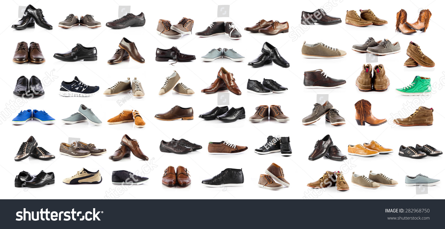 Collection of male shoes over white background #282968750