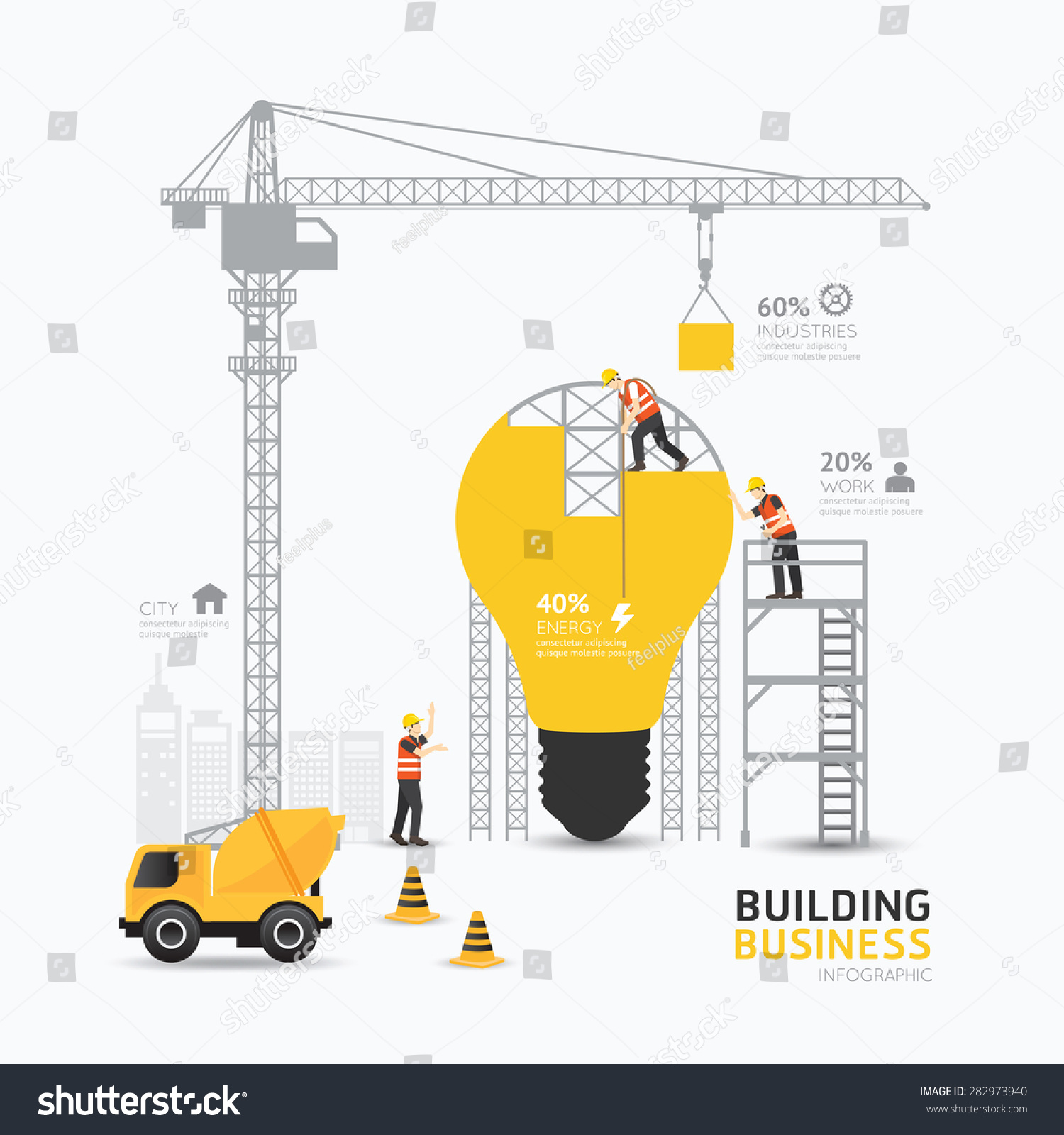 Infographic business light bulb shape template stock for Building design website