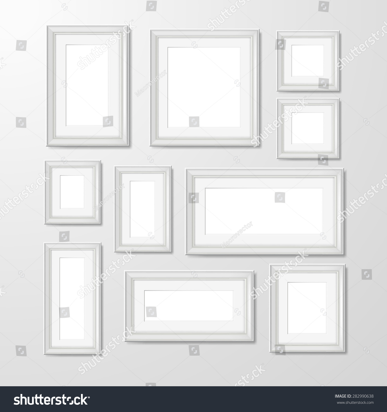 White Modern Rectangular Geometric Shape Wall Stock Vector
